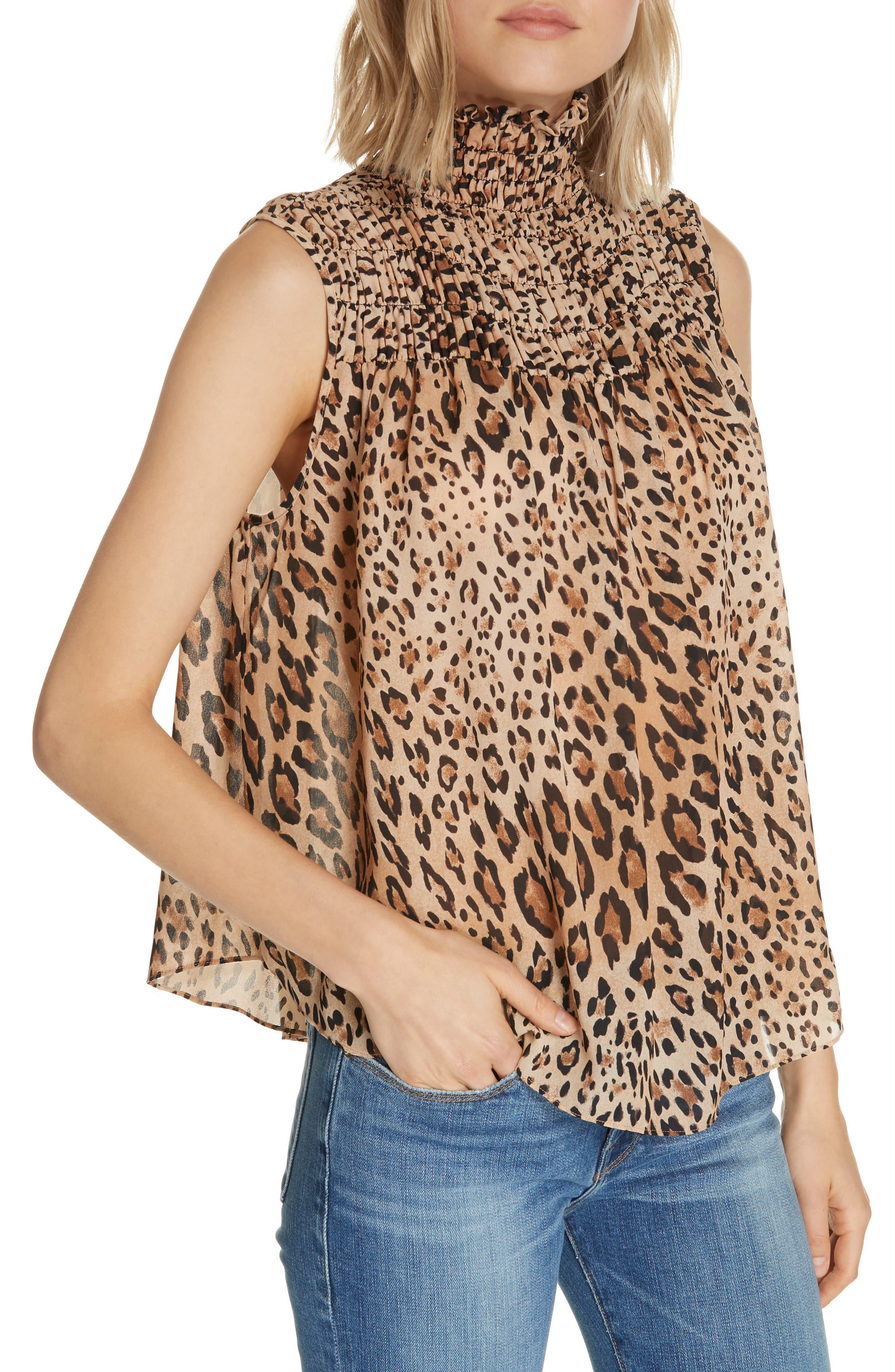 Leopard Print Smocked Silk Blouse,                             Alternate thumbnail 4, color,                             201