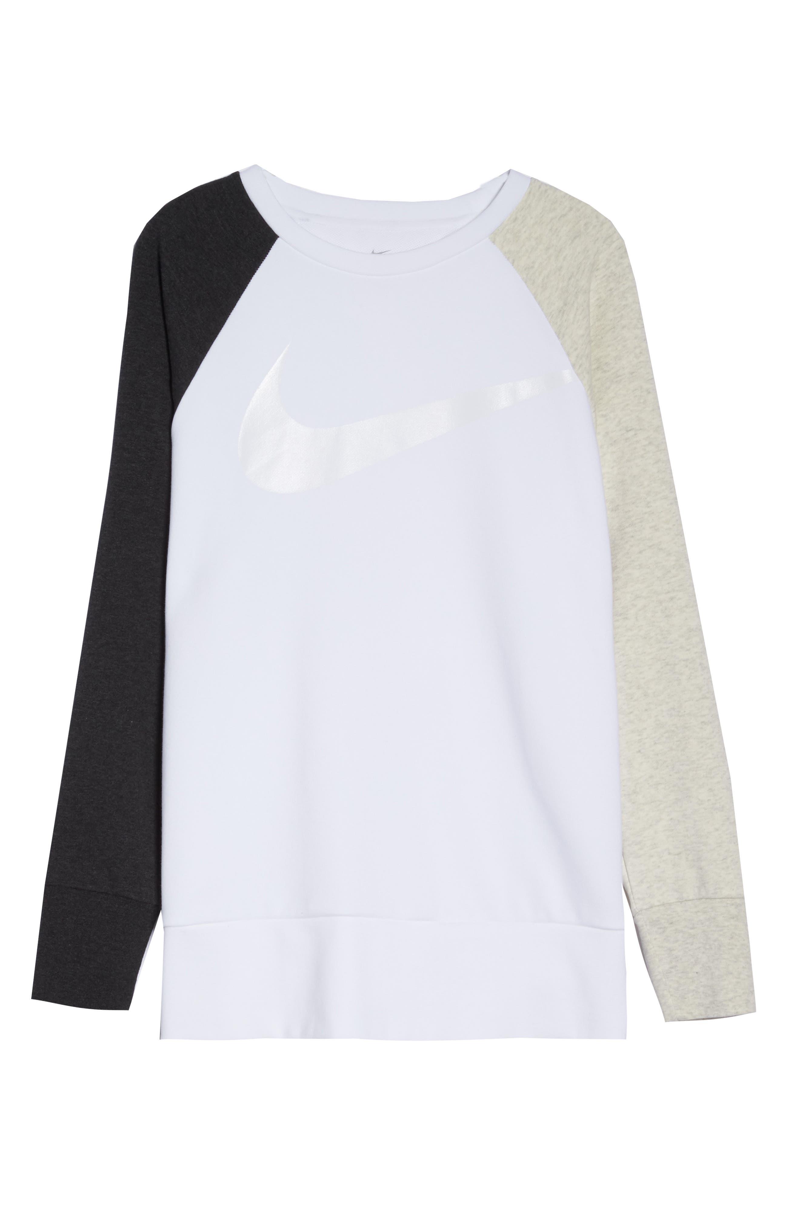 Dry Swoosh Sweatshirt,                             Alternate thumbnail 7, color,                             WHITE/ BLACK HEATHER/ WHITE