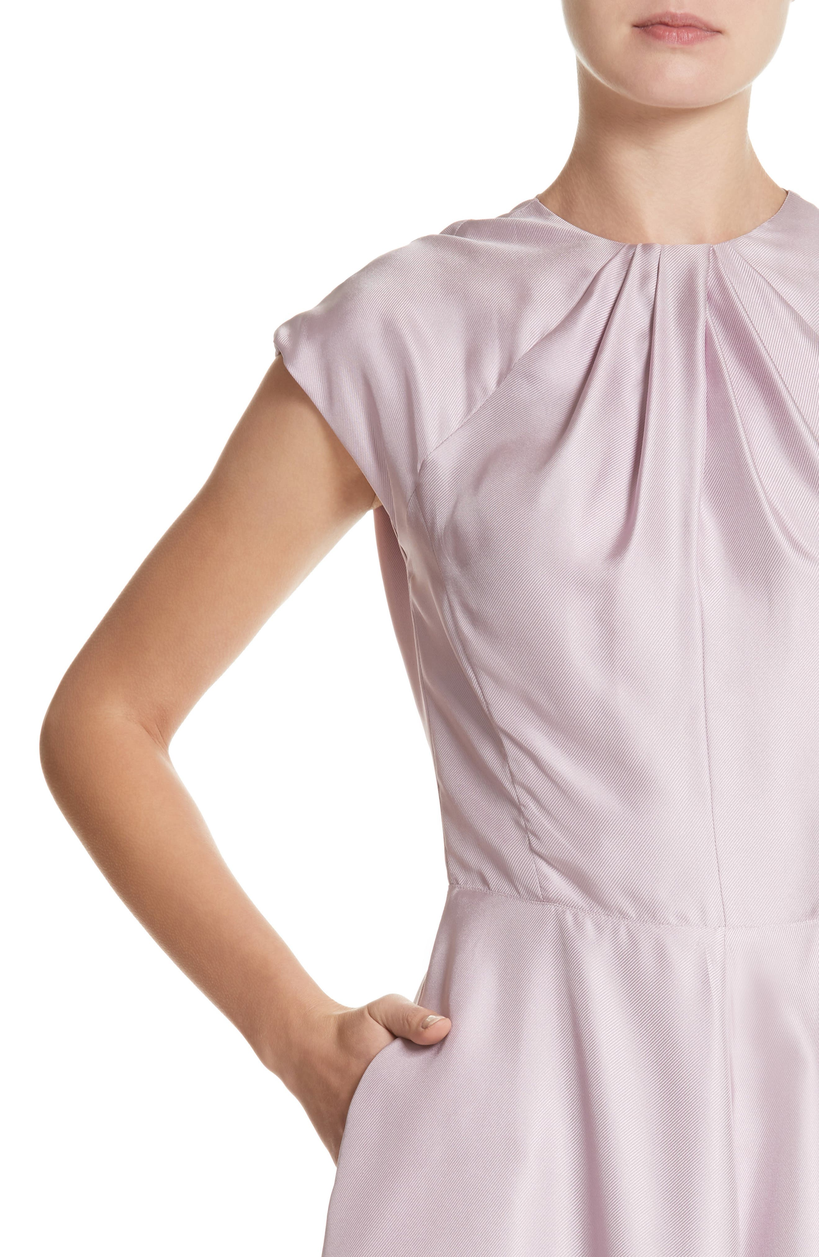 Gather Neck Silk A-Line Dress,                             Alternate thumbnail 4, color,                             664