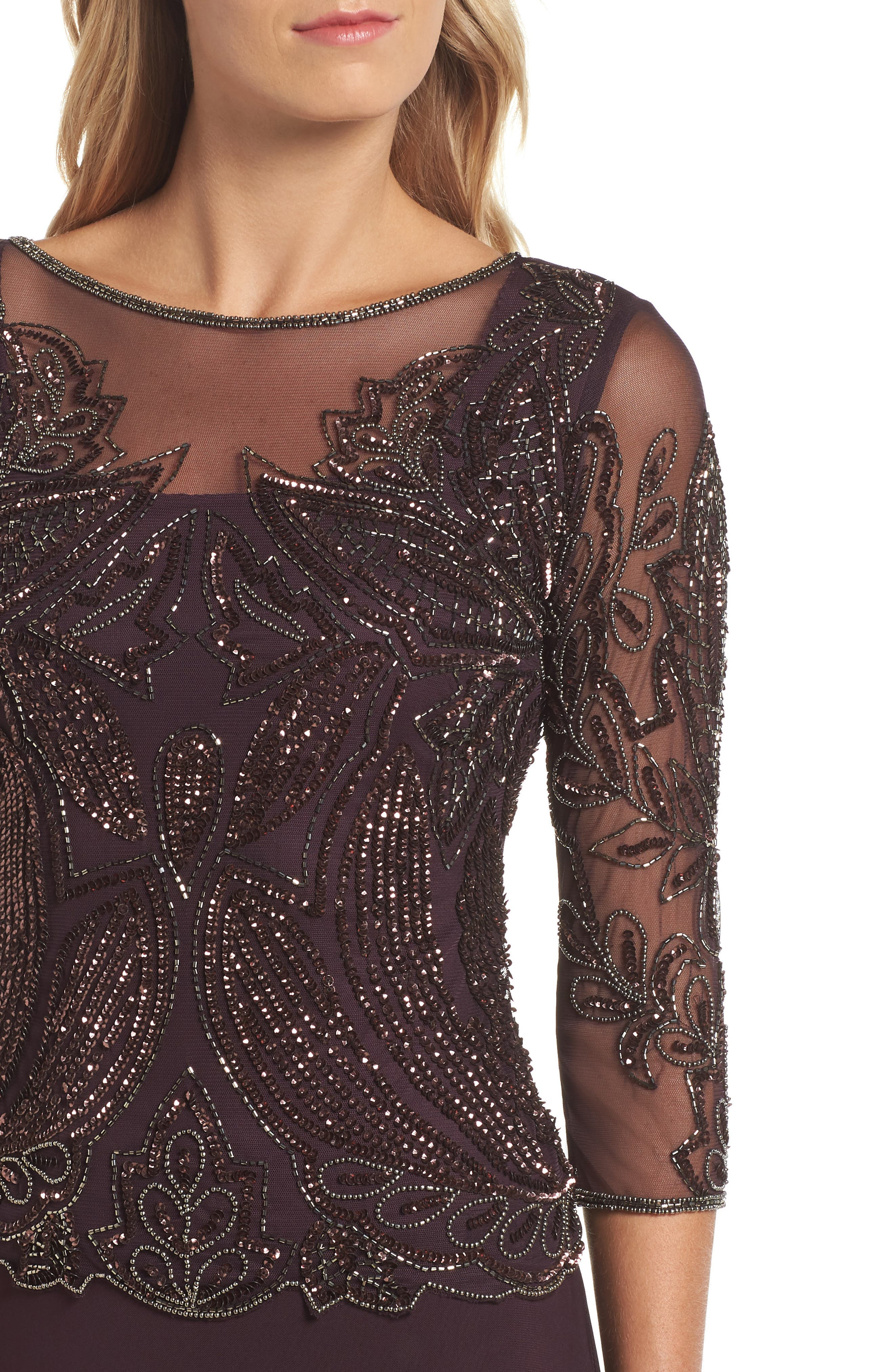 Embellished Mesh Gown,                             Alternate thumbnail 4, color,                             NEW WINE 2