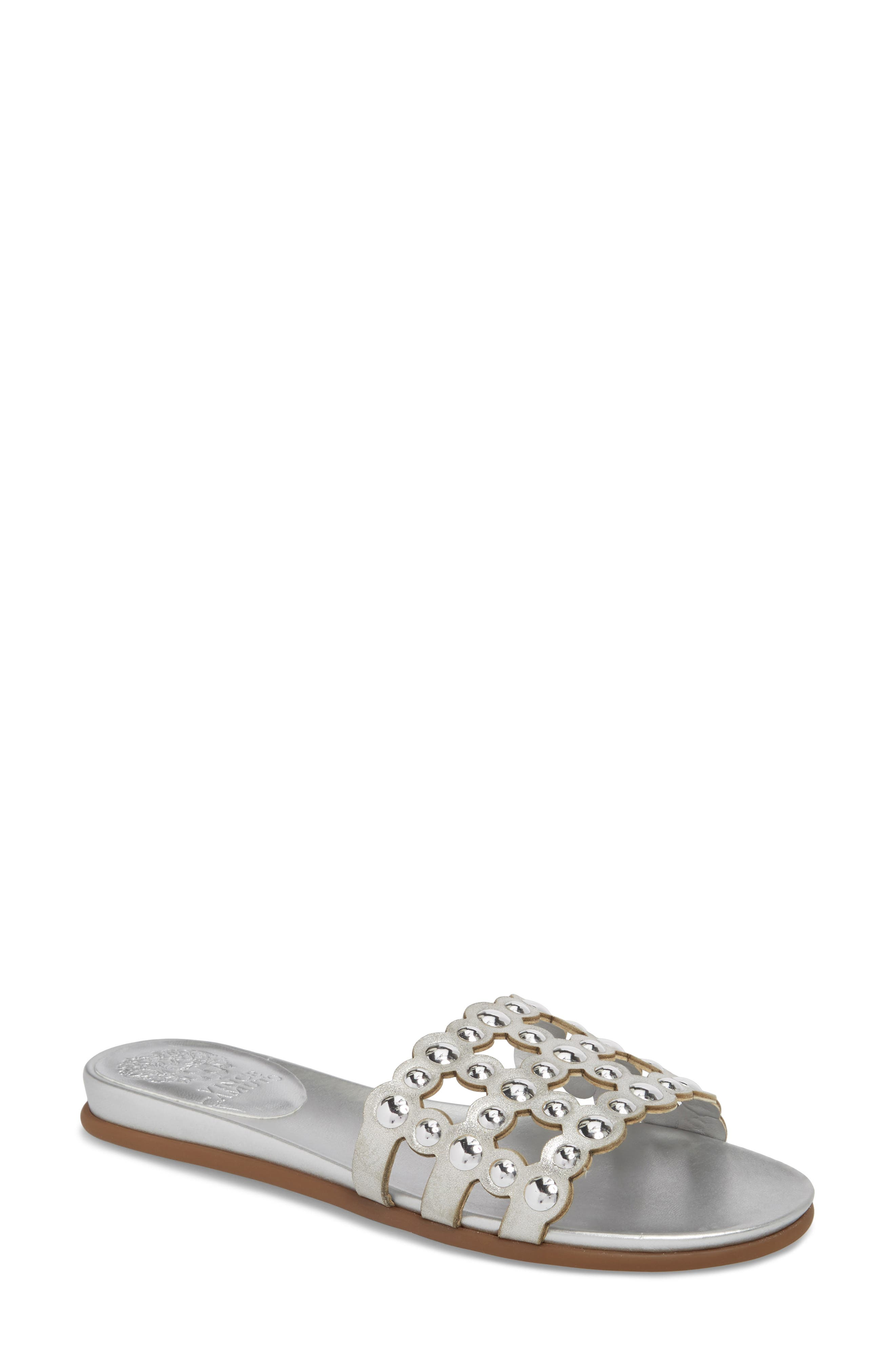 Ellanna Studded Slide Sandal,                             Main thumbnail 1, color,                             GLEAMING SILVER LEATHER