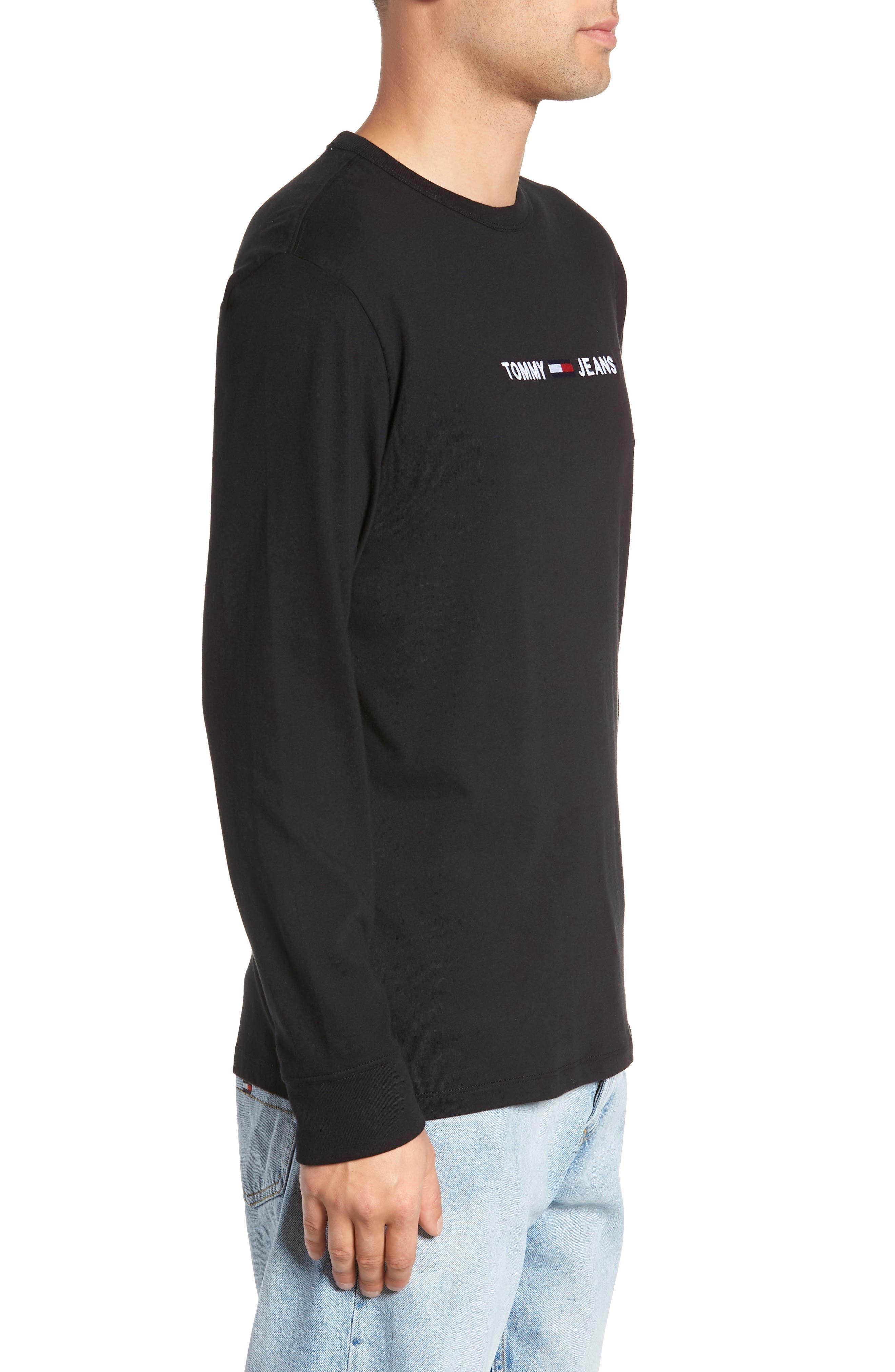 TJM Logo Graphic Long Sleeve T-Shirt,                             Alternate thumbnail 3, color,                             TOMMY BLACK