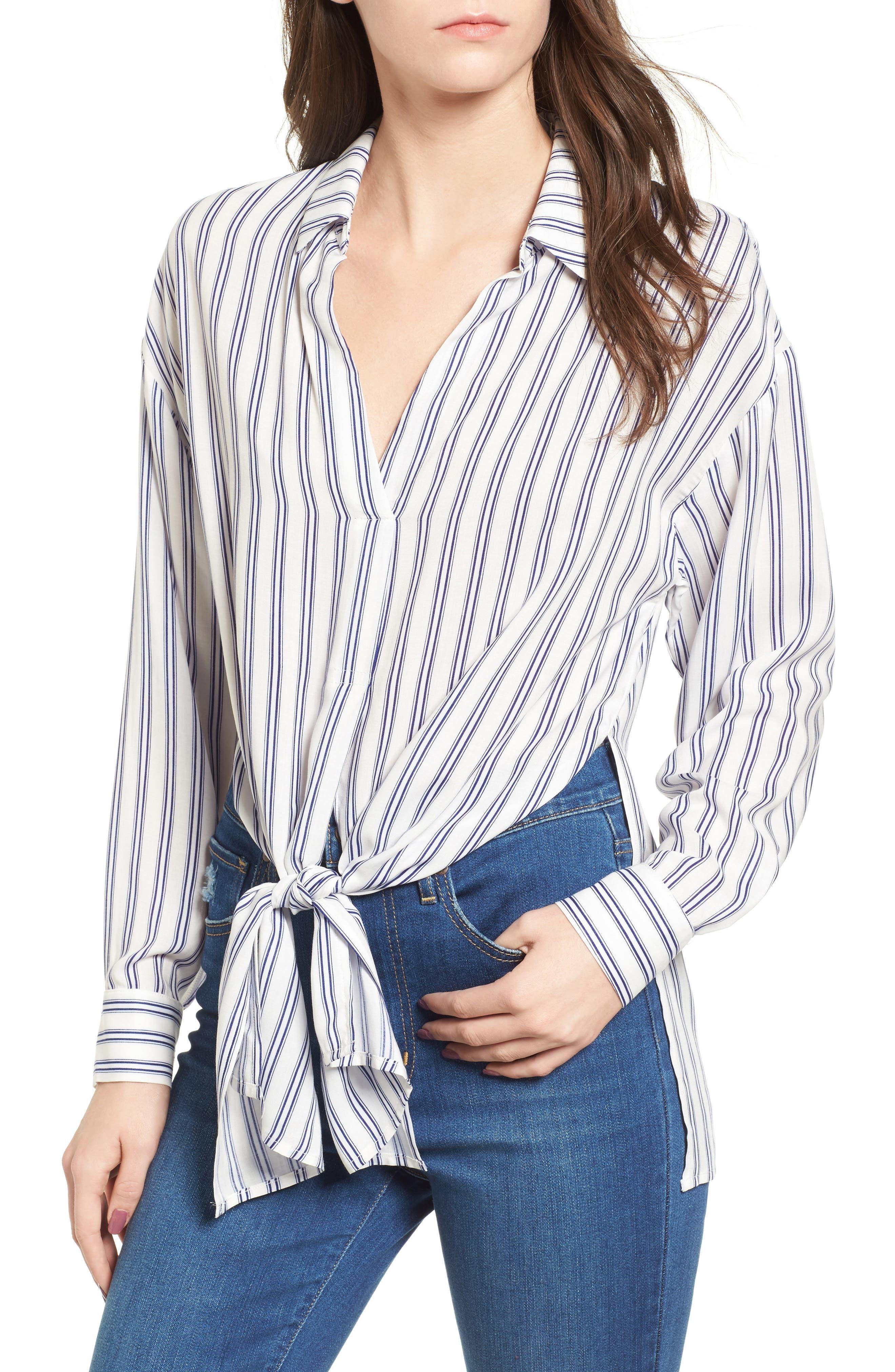 Stripe Tie Waist Blouse,                         Main,                         color, 100