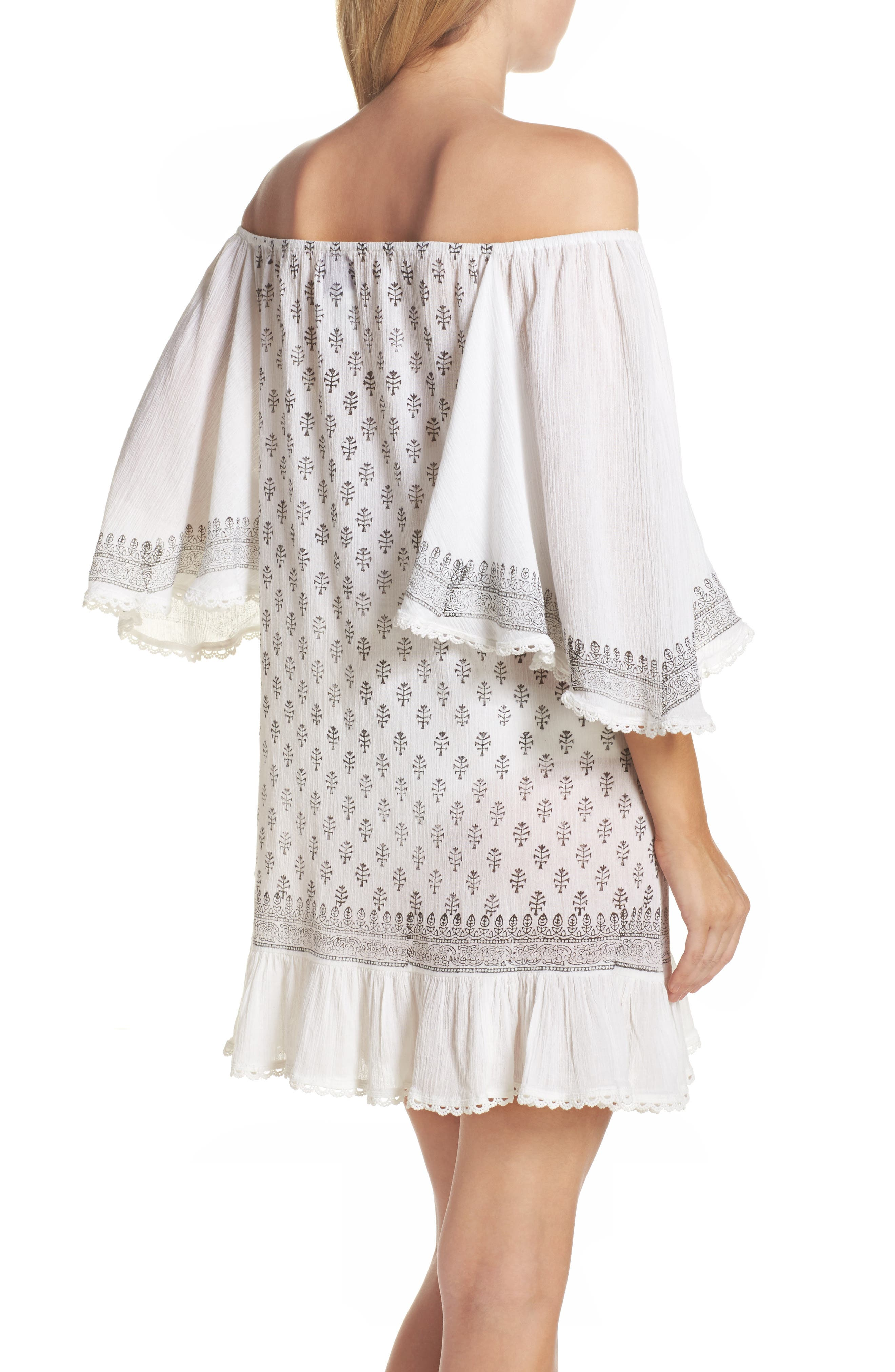Dreamer Off the Shoulder Cover-Up Dress,                             Alternate thumbnail 2, color,                             100