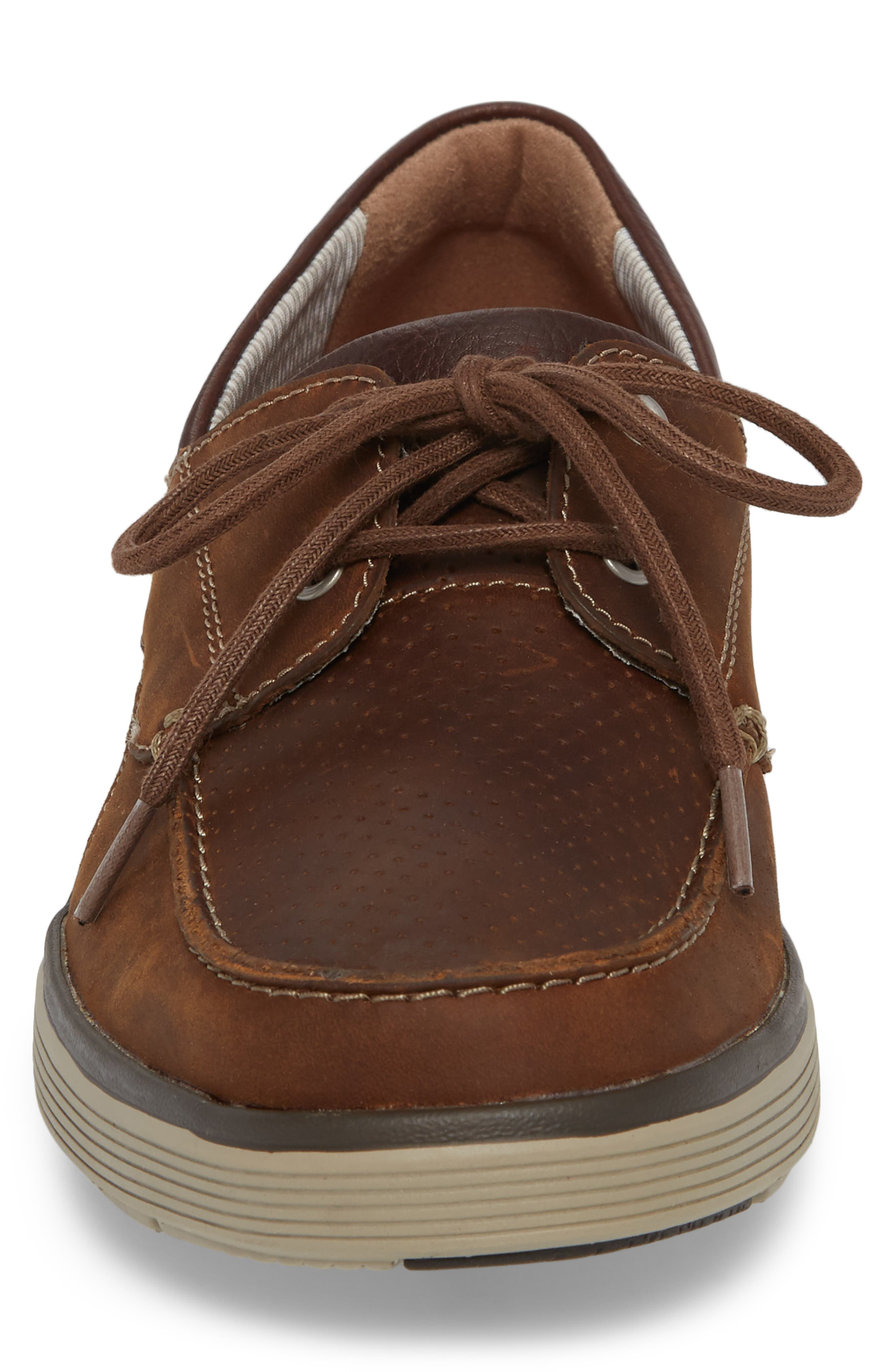 Clarks<sup>®</sup> Unabobe Step Boat Shoe,                             Alternate thumbnail 4, color,                             DARK TAN LEATHER