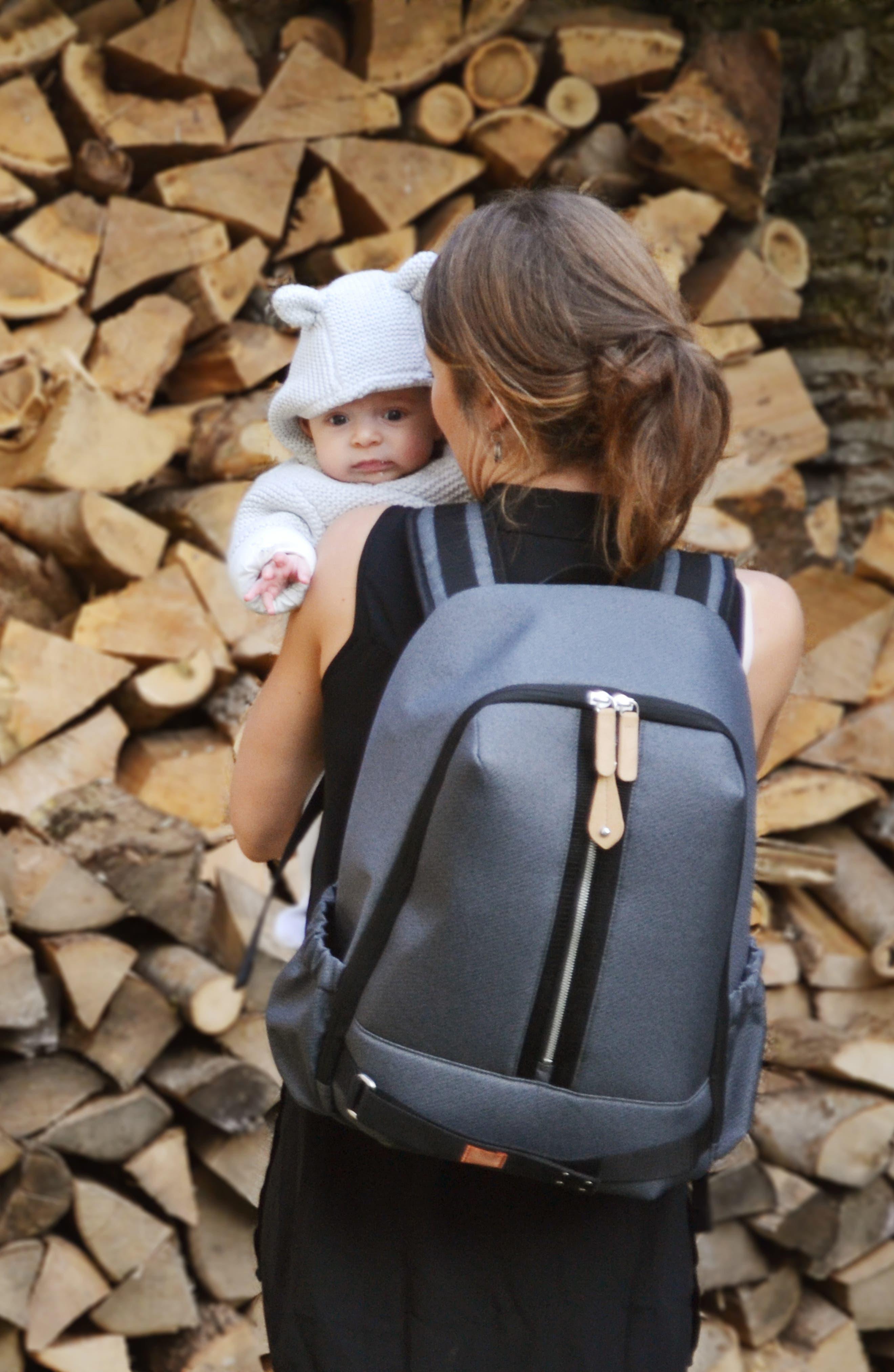 Picos Pack Diaper Backpack,                             Alternate thumbnail 9, color,                             BLACK CHARCOAL