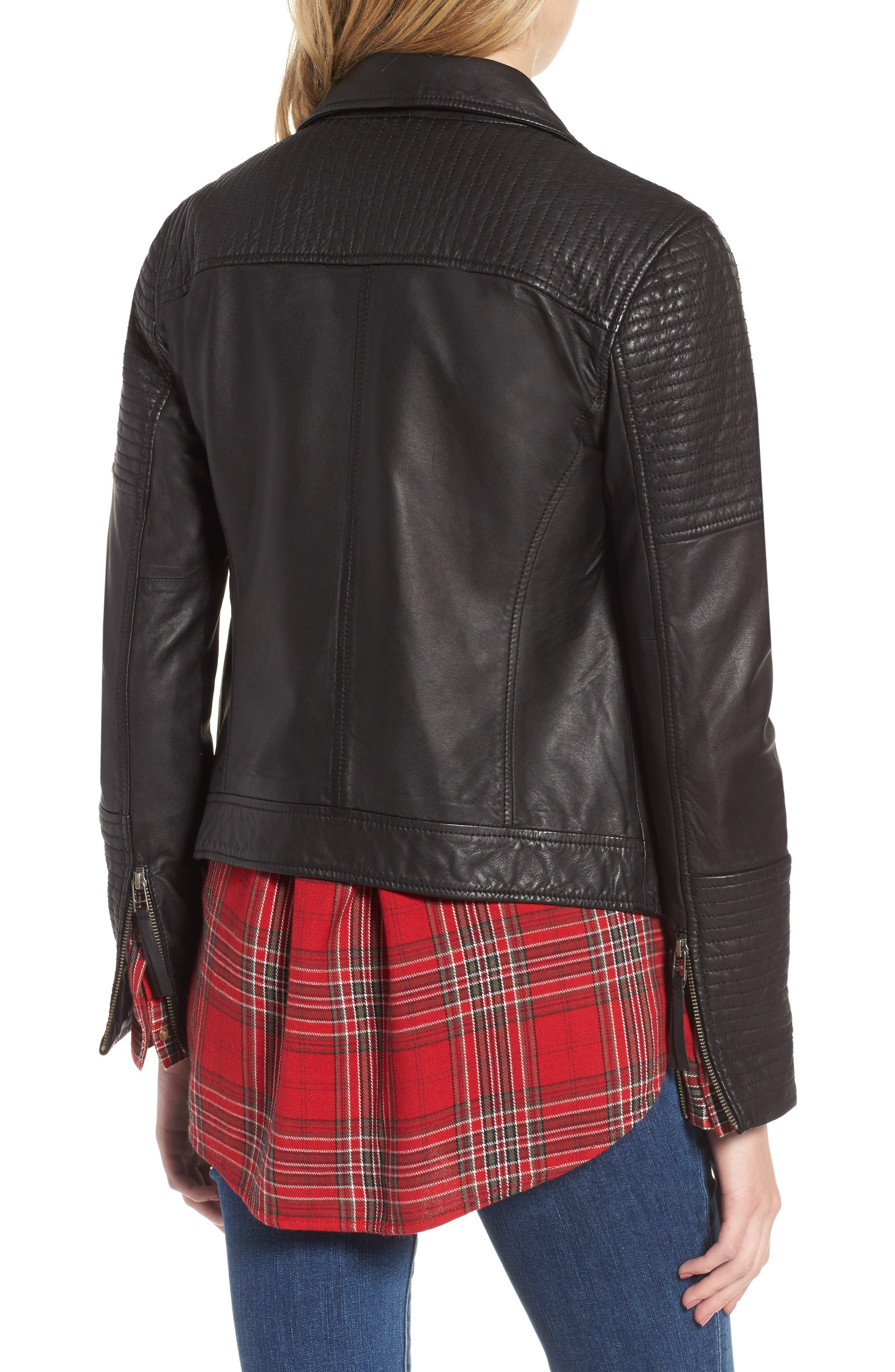 Quilted Leather Moto Jacket,                             Alternate thumbnail 3, color,                             001