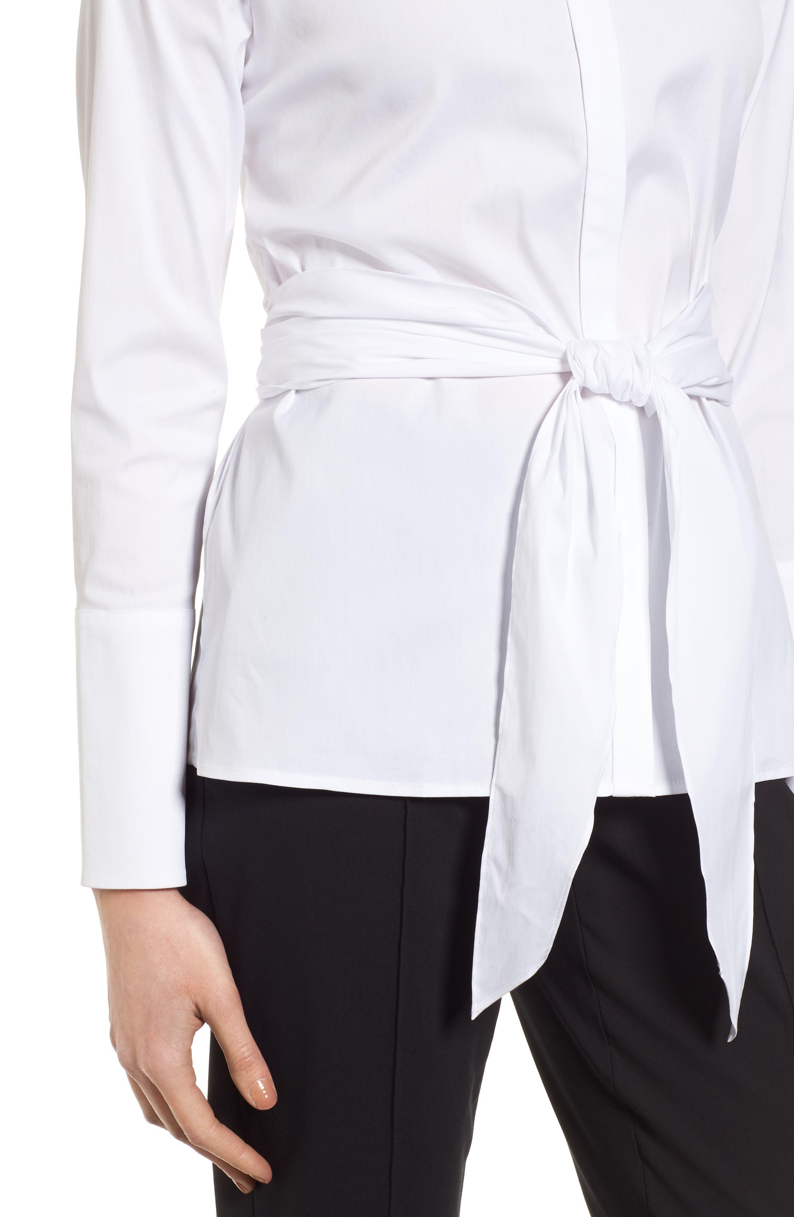Tie Front Cotton Blend Blouse,                             Alternate thumbnail 4, color,                             100