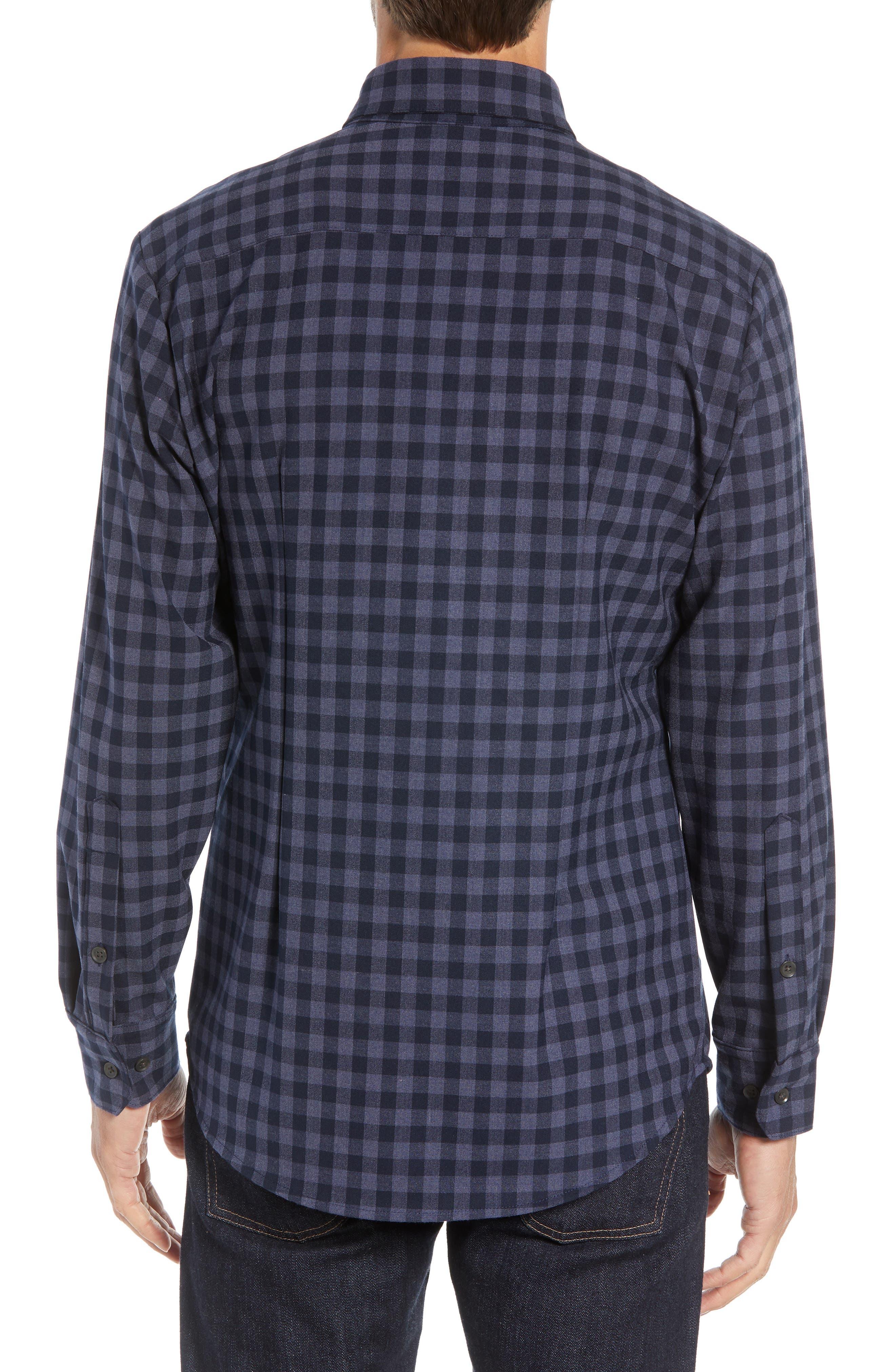Palmetto Regular Fit Flannel Sport Shirt,                             Alternate thumbnail 3, color,                             NAVY