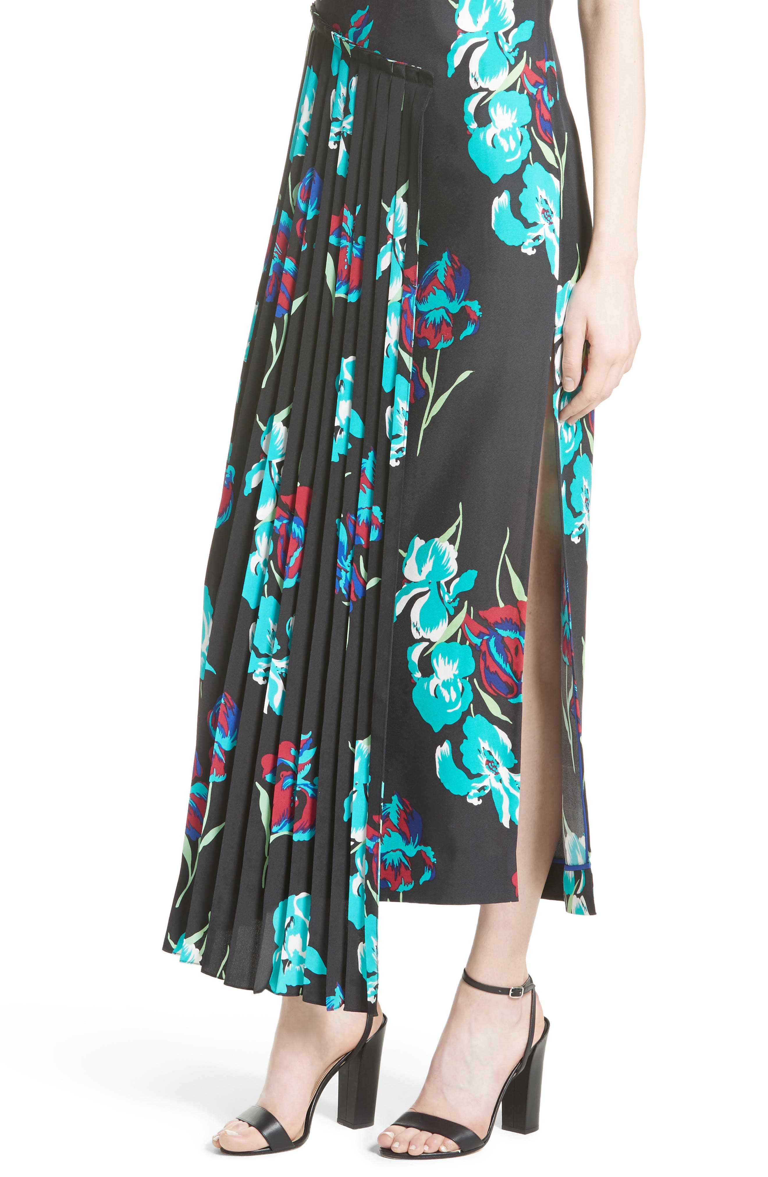 Print Silk Pleated Overlay Dress,                             Alternate thumbnail 4, color,                             009