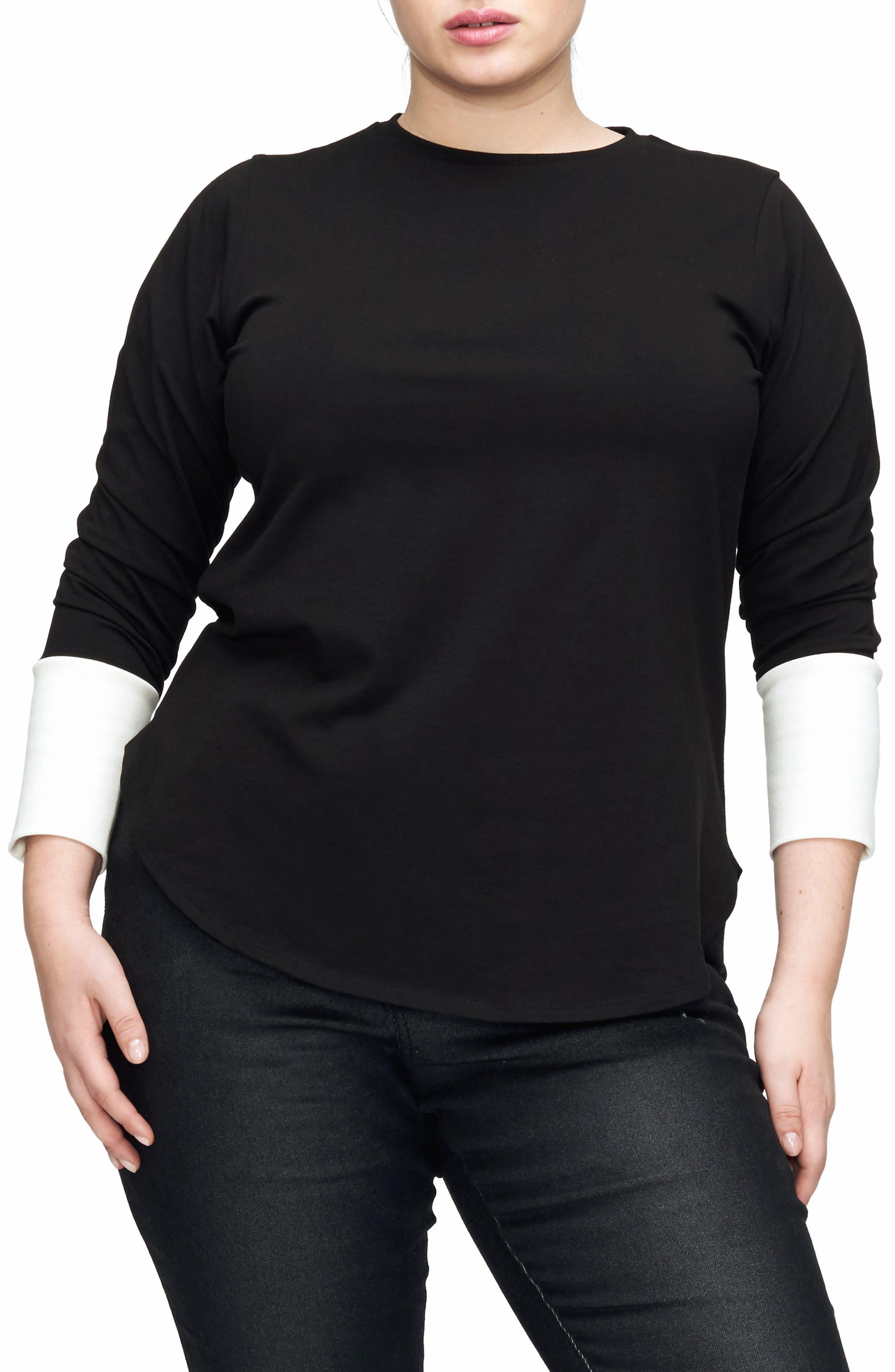 Rhine Colorblock Cuff Top,                         Main,                         color, BLACK/ WHITE
