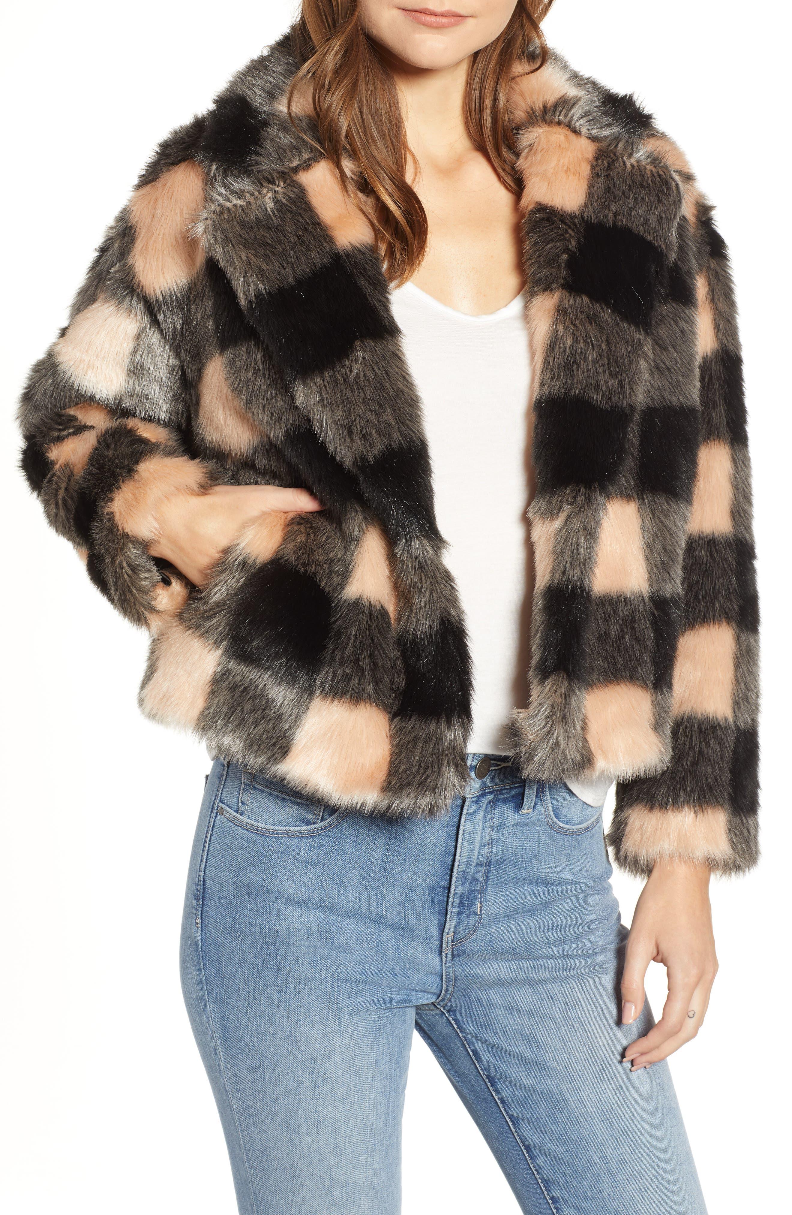 HEARTLOOM Aria Faux Fur Coat in Check