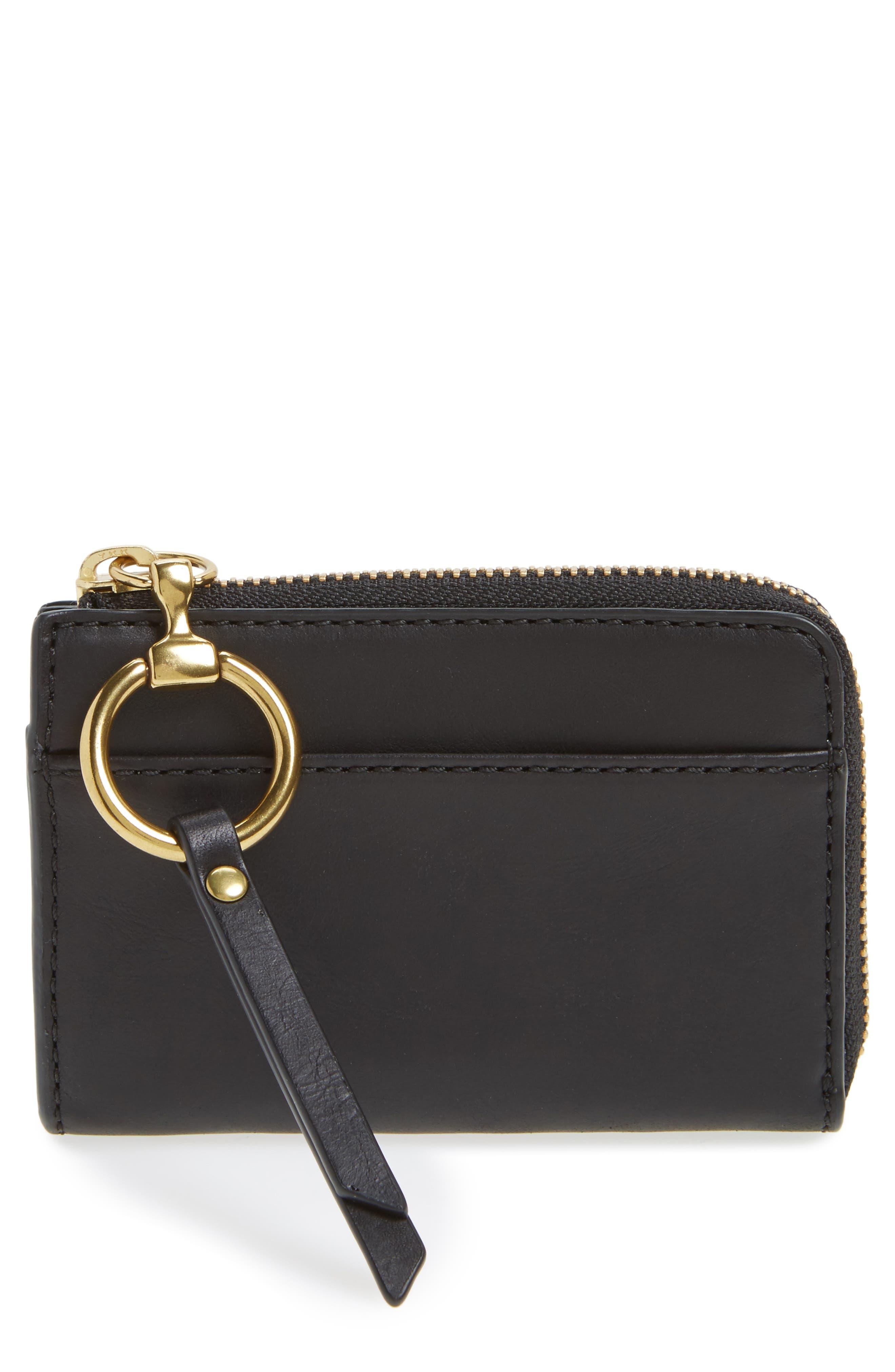 Small Ilana Harness Zip Leather Wallet,                             Main thumbnail 1, color,                             001