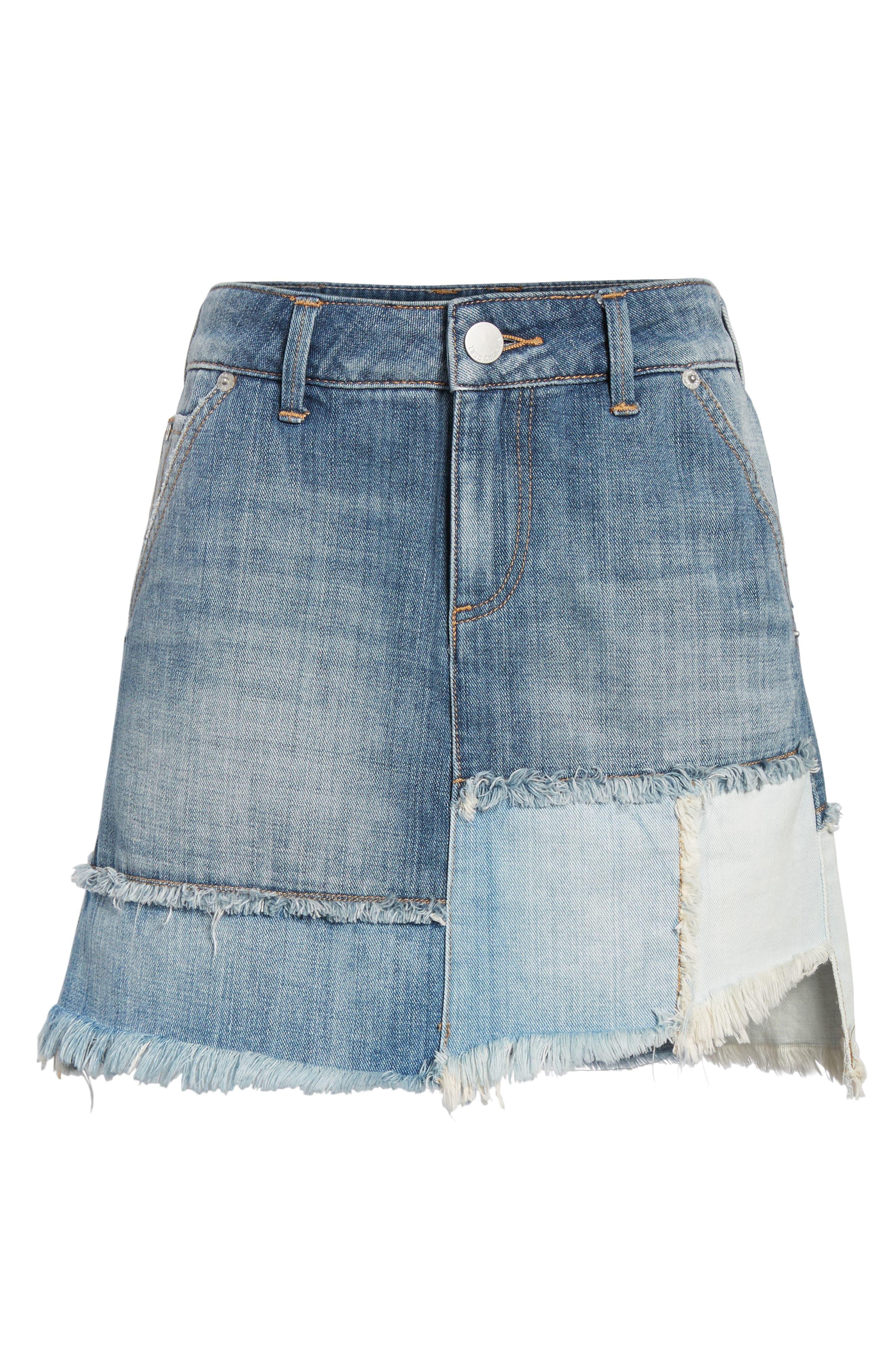 Patchwork Denim Miniskirt,                             Alternate thumbnail 6, color,                             401