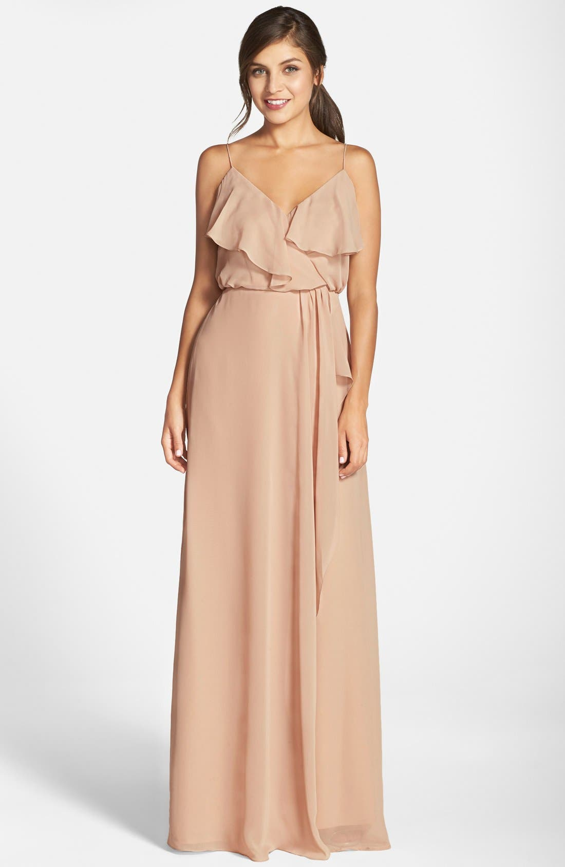 'Drew' Ruffle Front Chiffon Gown,                             Main thumbnail 2, color,