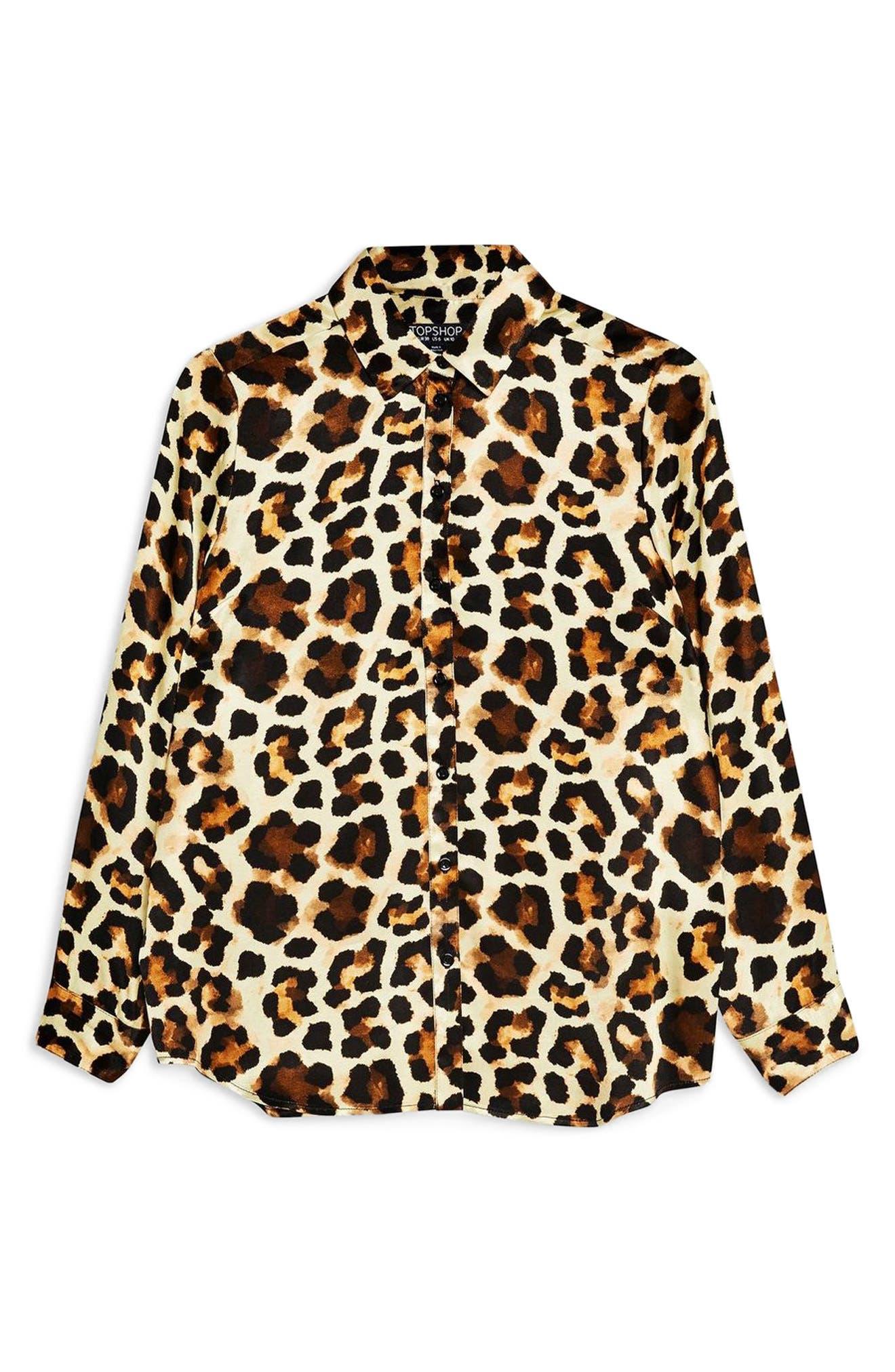 Leopard Print Shirt,                             Alternate thumbnail 3, color,                             BROWN MULTI