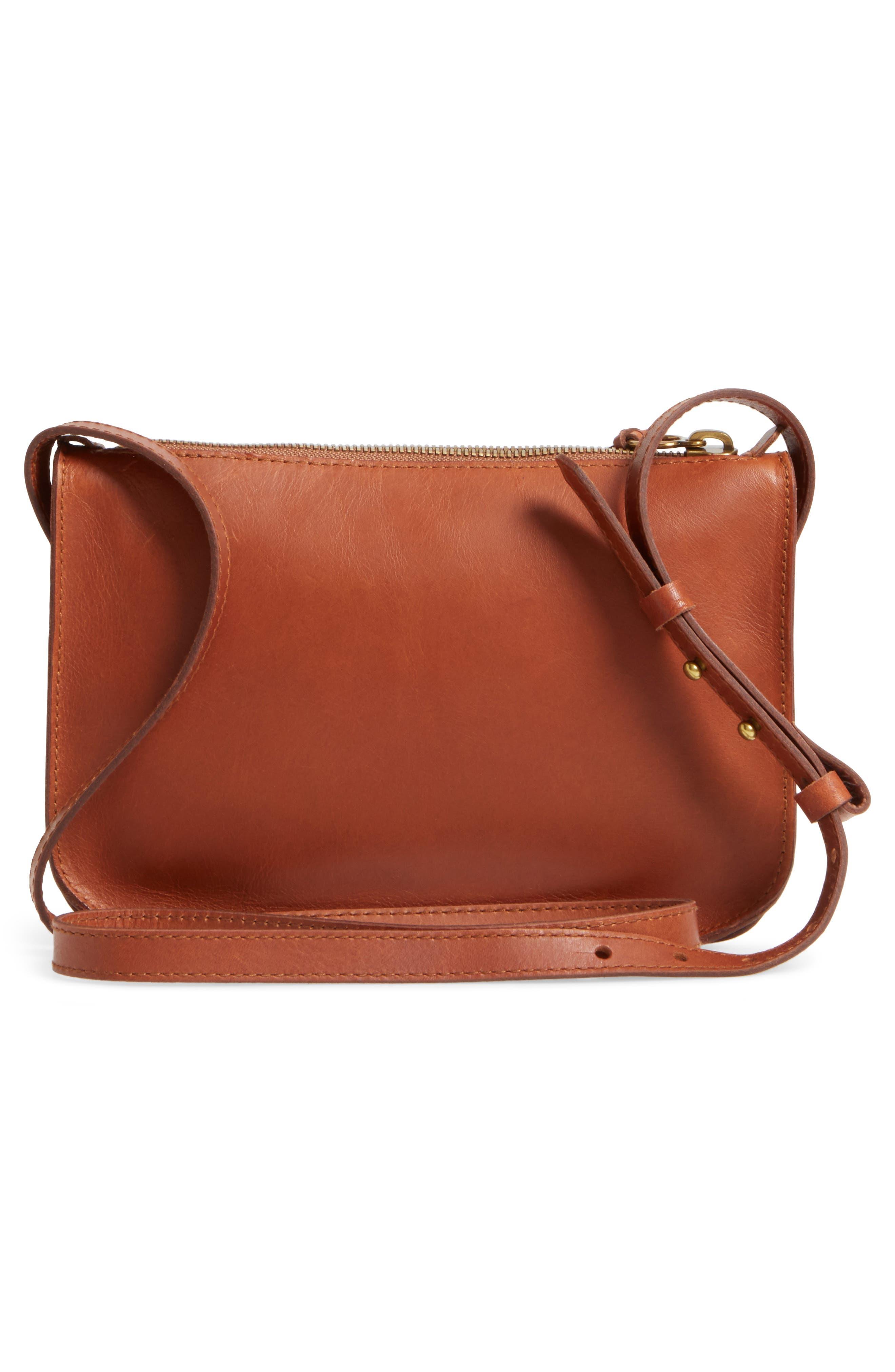 The Simple Leather Crossbody Bag,                             Alternate thumbnail 3, color,                             ENGLISH SADDLE