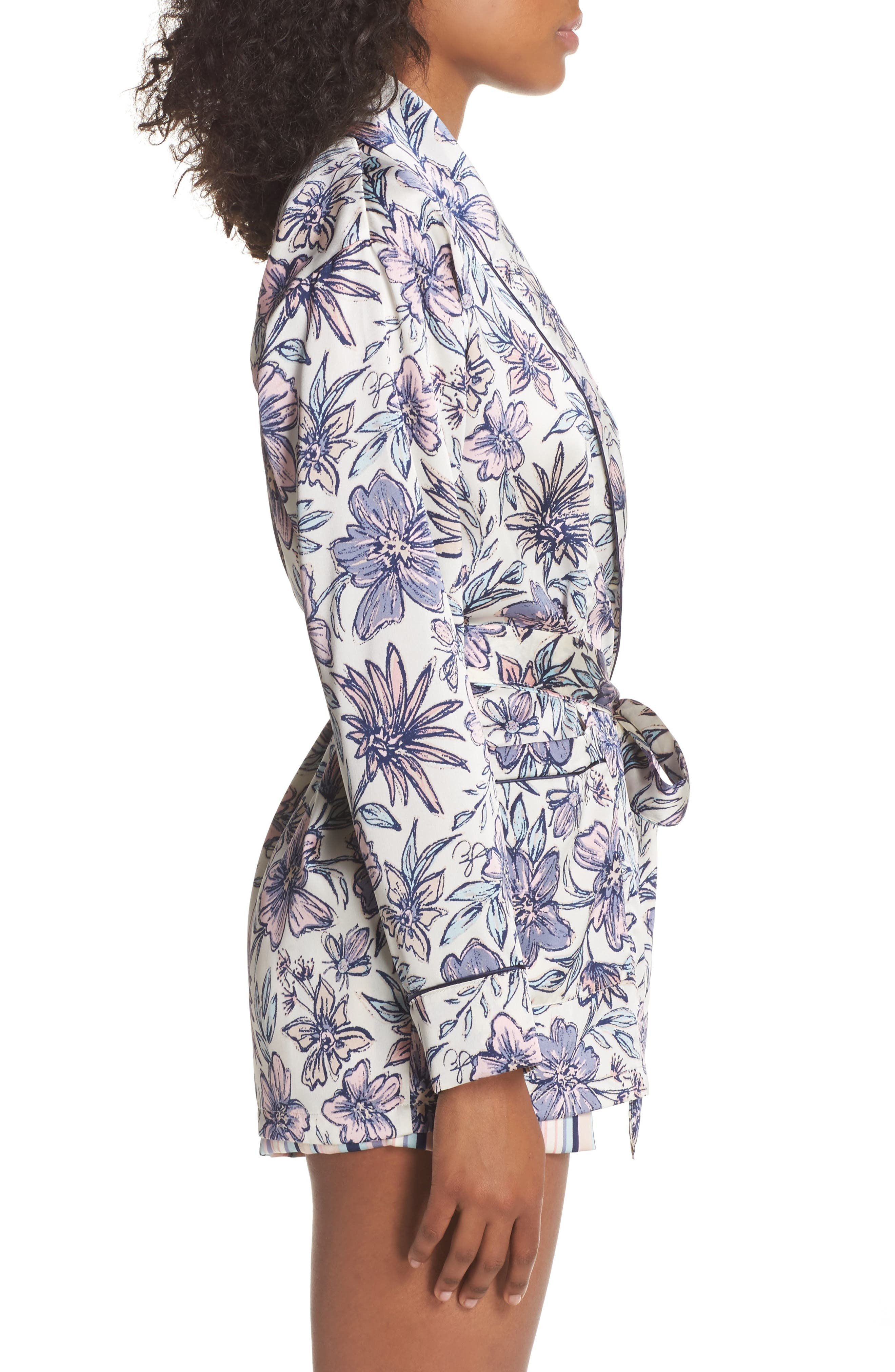 Satin Smoking Jacket Robe,                             Alternate thumbnail 3, color,                             900