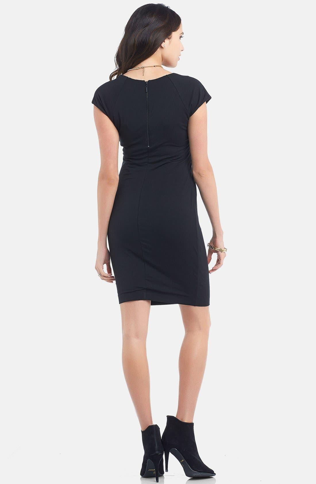 TART MATERNITY,                             'Freya' Print Body-Con Maternity Dress,                             Alternate thumbnail 2, color,                             BLACK