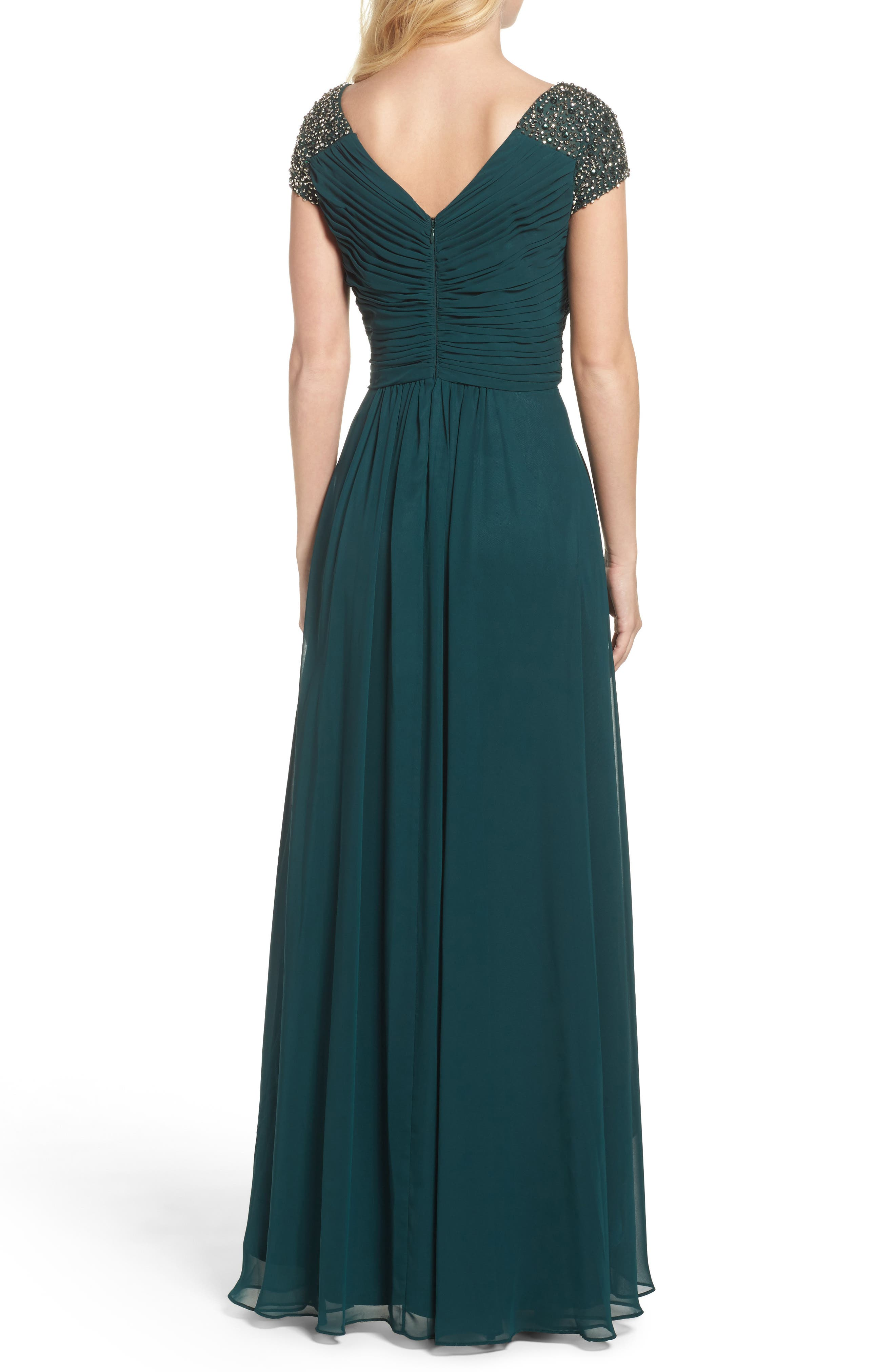 Embellished Pleated Chiffon Gown,                             Alternate thumbnail 5, color,