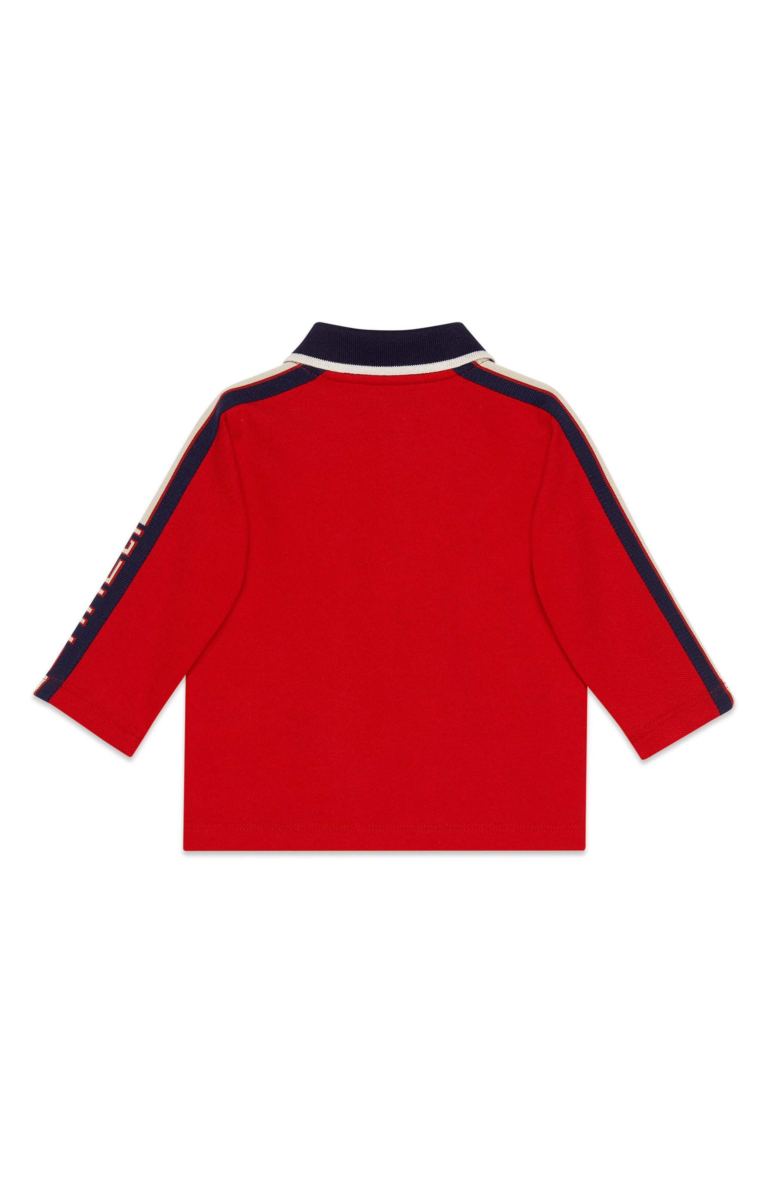 Long Sleeve Stripe Cotton Piqué Polo Shirt,                             Alternate thumbnail 4, color,