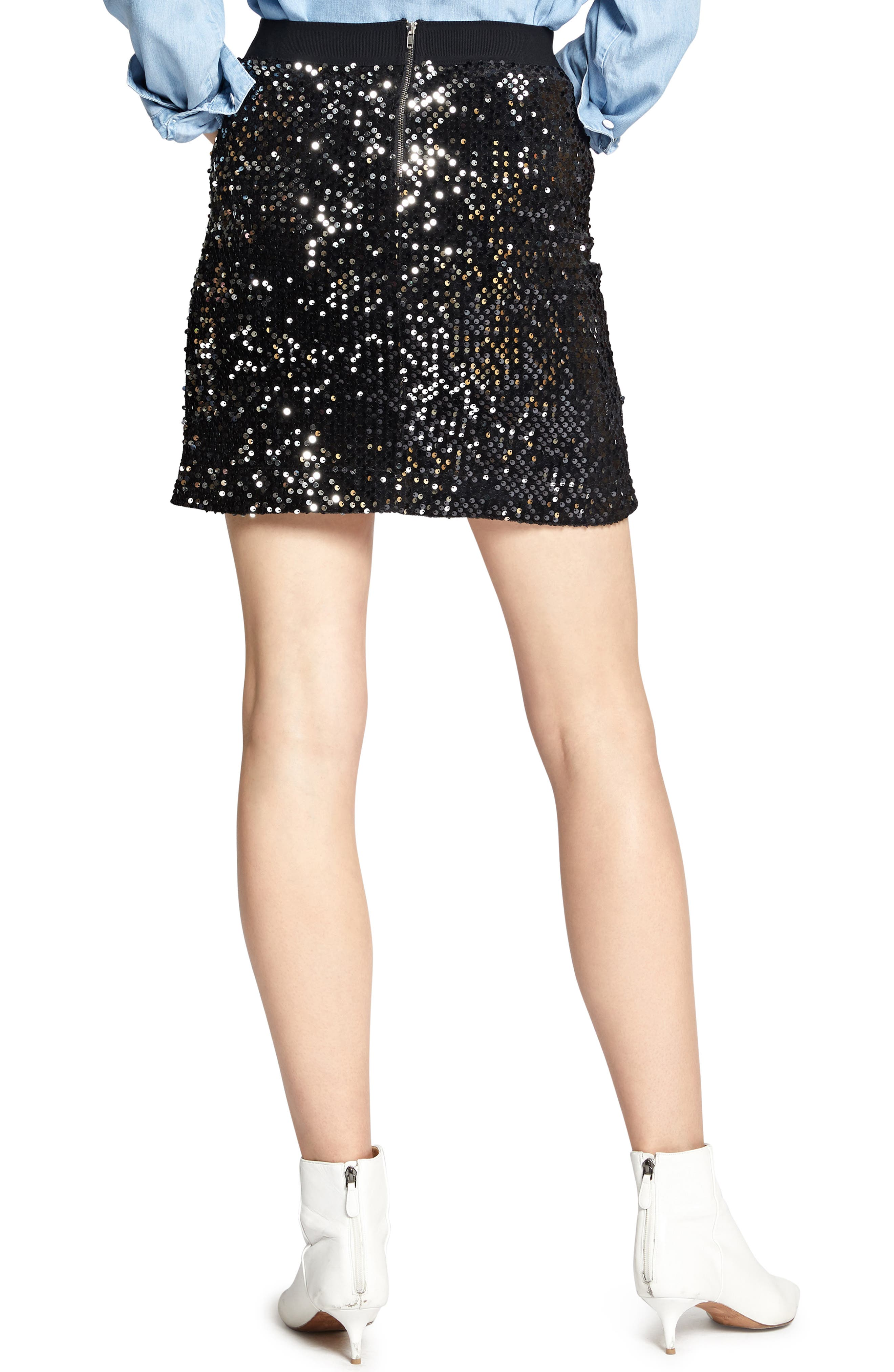 Ready For the Night Sequins Skirt,                             Alternate thumbnail 2, color,                             BLACK/ SILVER