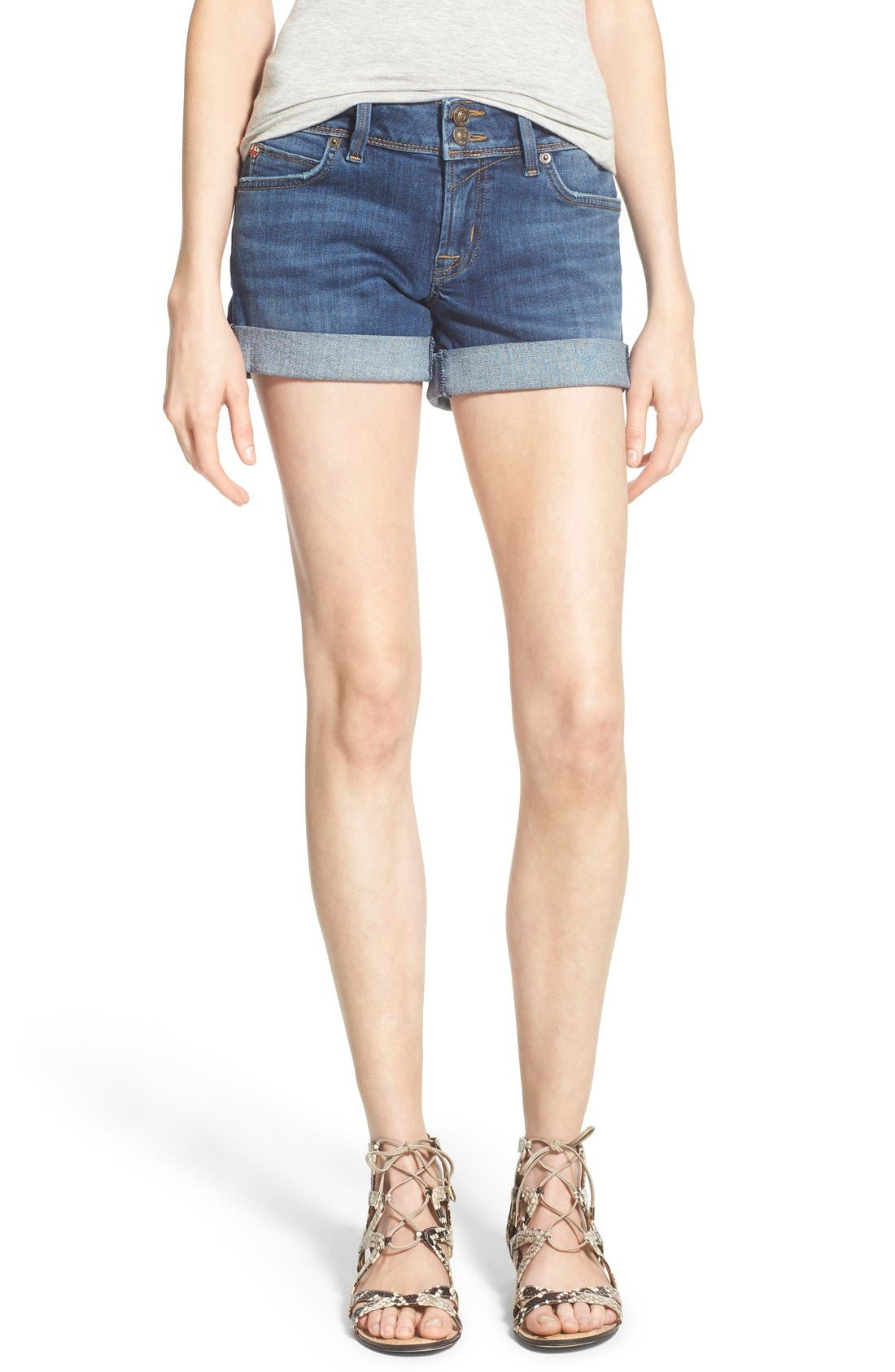 'Croxley' Cuffed Denim Shorts,                             Main thumbnail 2, color,