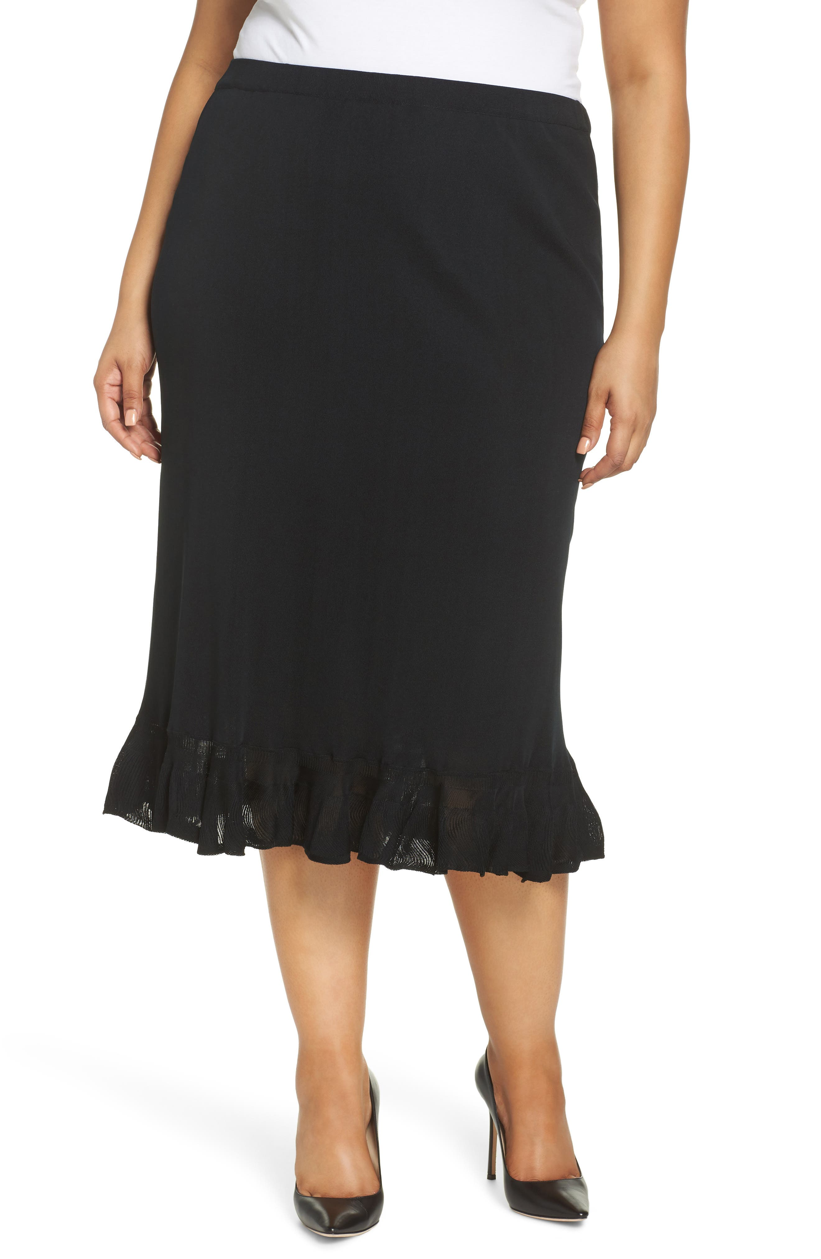 MING WANG,                             Ruffle Hem Skirt,                             Main thumbnail 1, color,                             BLACK