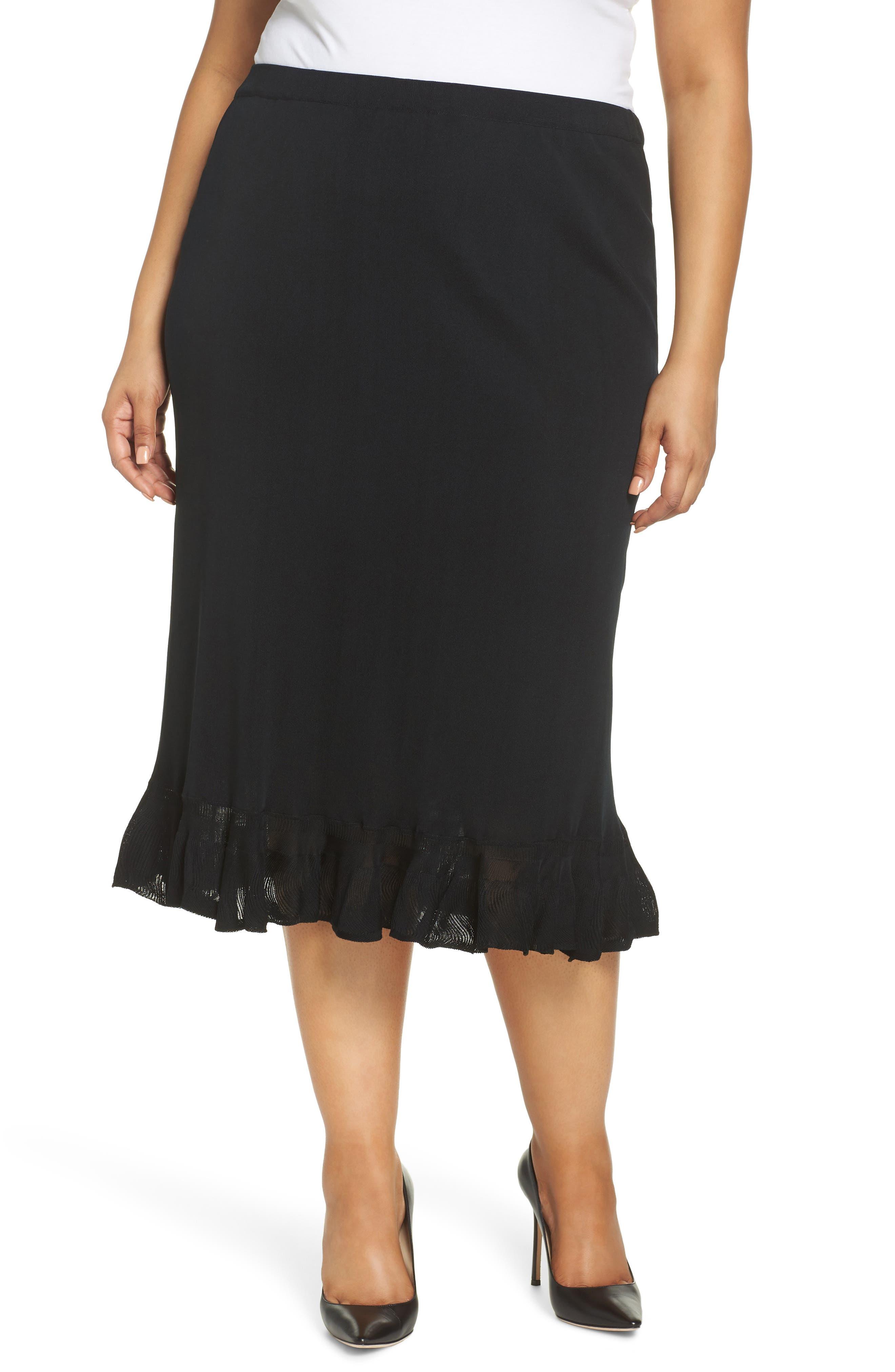 MING WANG Ruffle Hem Skirt, Main, color, BLACK