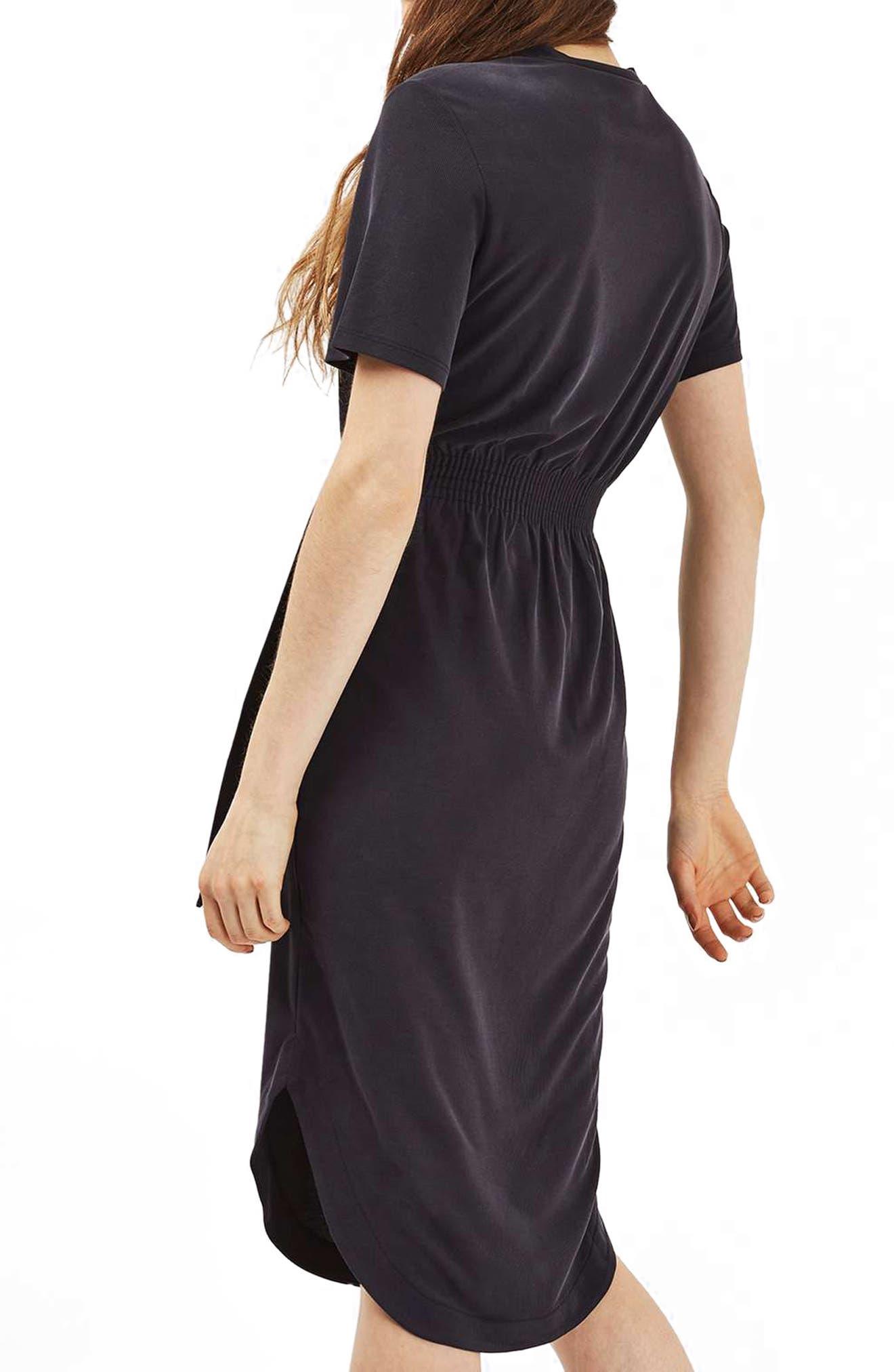 Ribbed Midi Dress,                             Alternate thumbnail 2, color,                             001