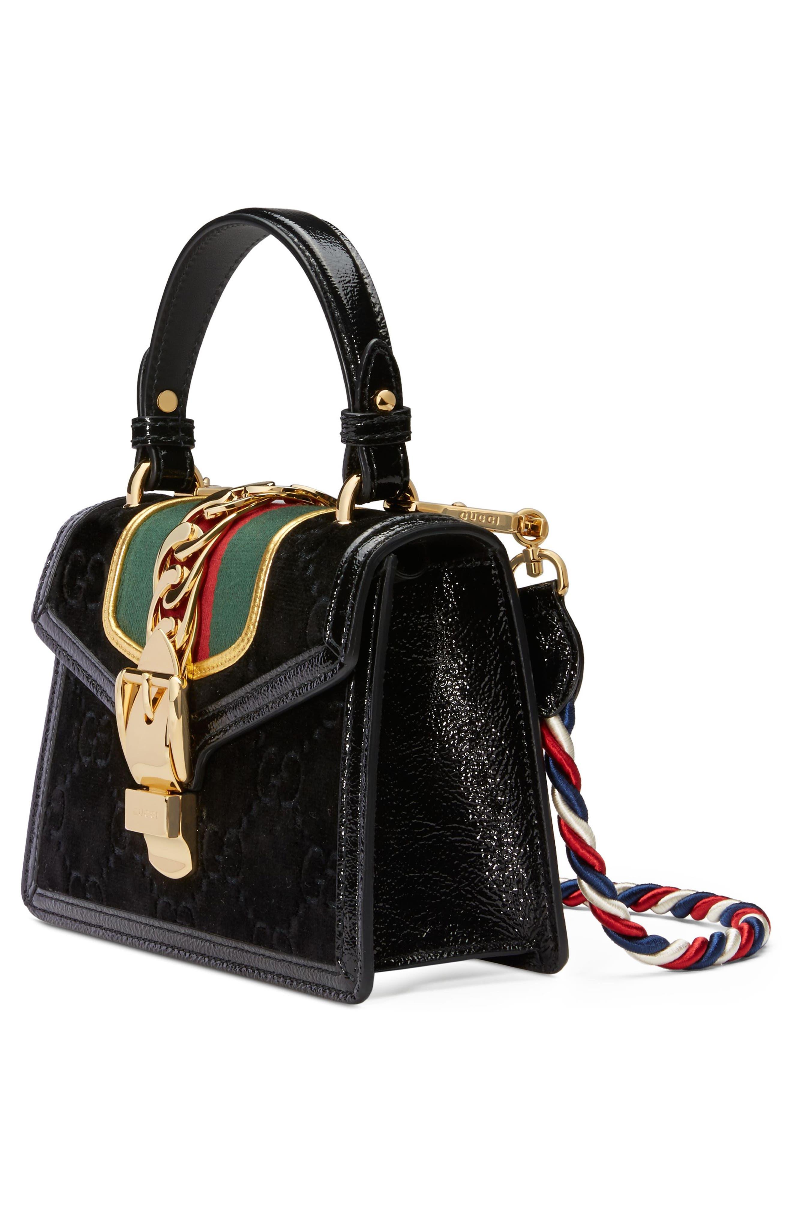 Mini Sylvie Velvet Top Handle Bag,                             Alternate thumbnail 4, color,                             NERO/ VERT RED/ MYSTIC WHITE