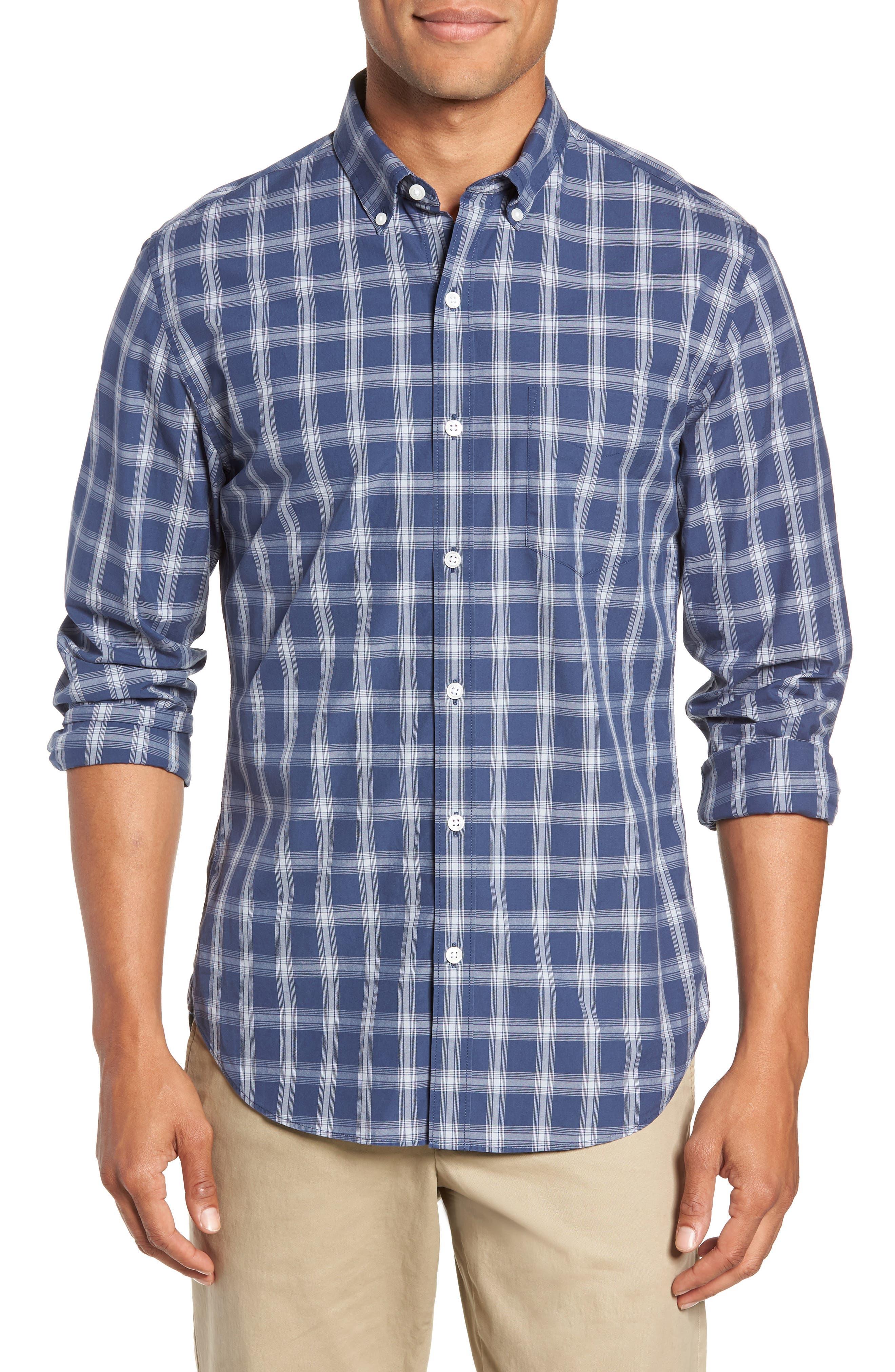 Washed Button Down Slim Fit Plaid Sport Shirt,                         Main,                         color, ARID BLUE