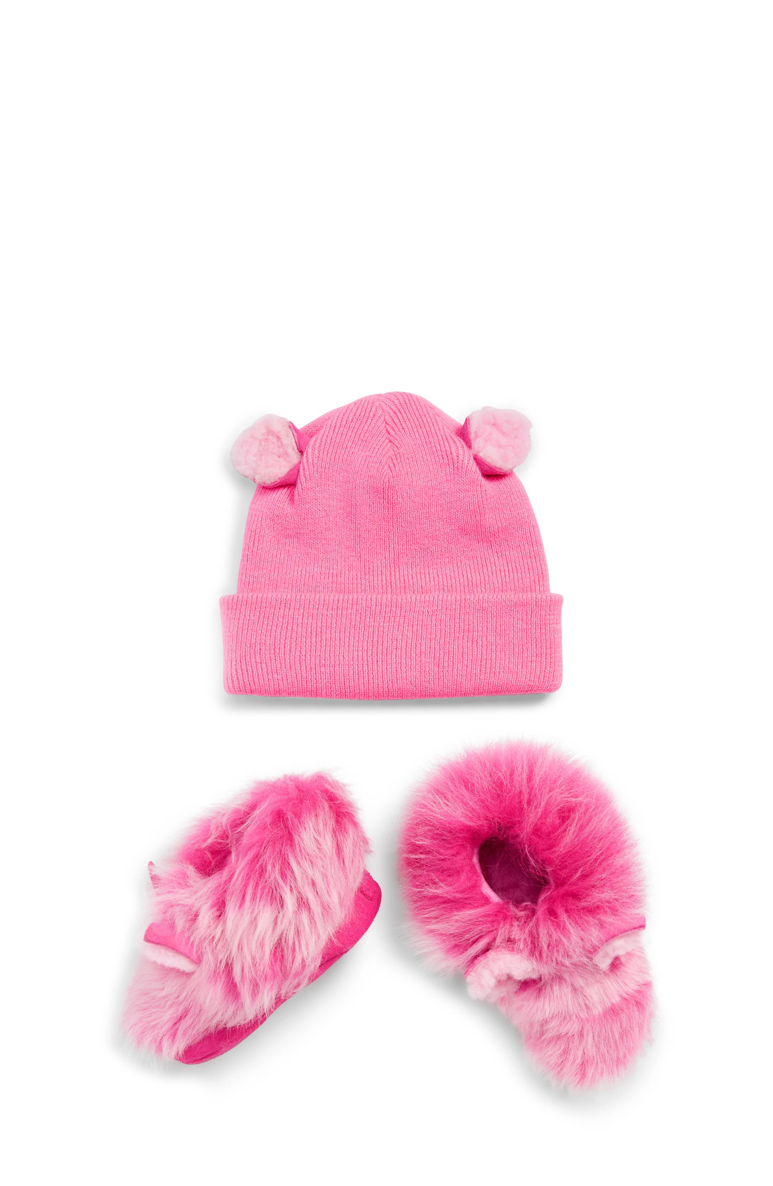 Pinkipuff Genuine Shearling Trim Hat & Booties Gift Set, Main, color, PINK AZALEA