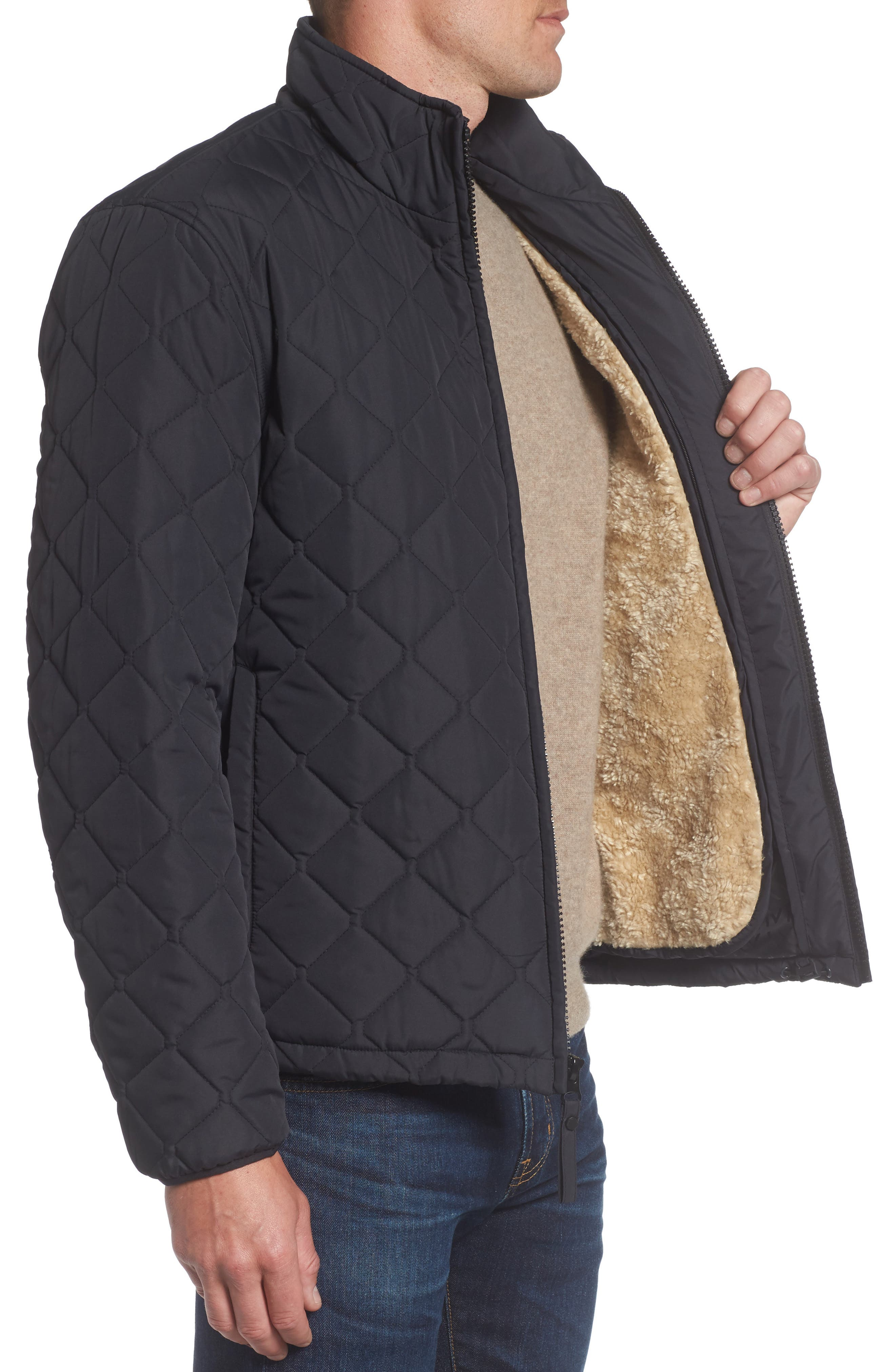 Faux Shearling Lined Quilted Jacket,                             Alternate thumbnail 3, color,                             001