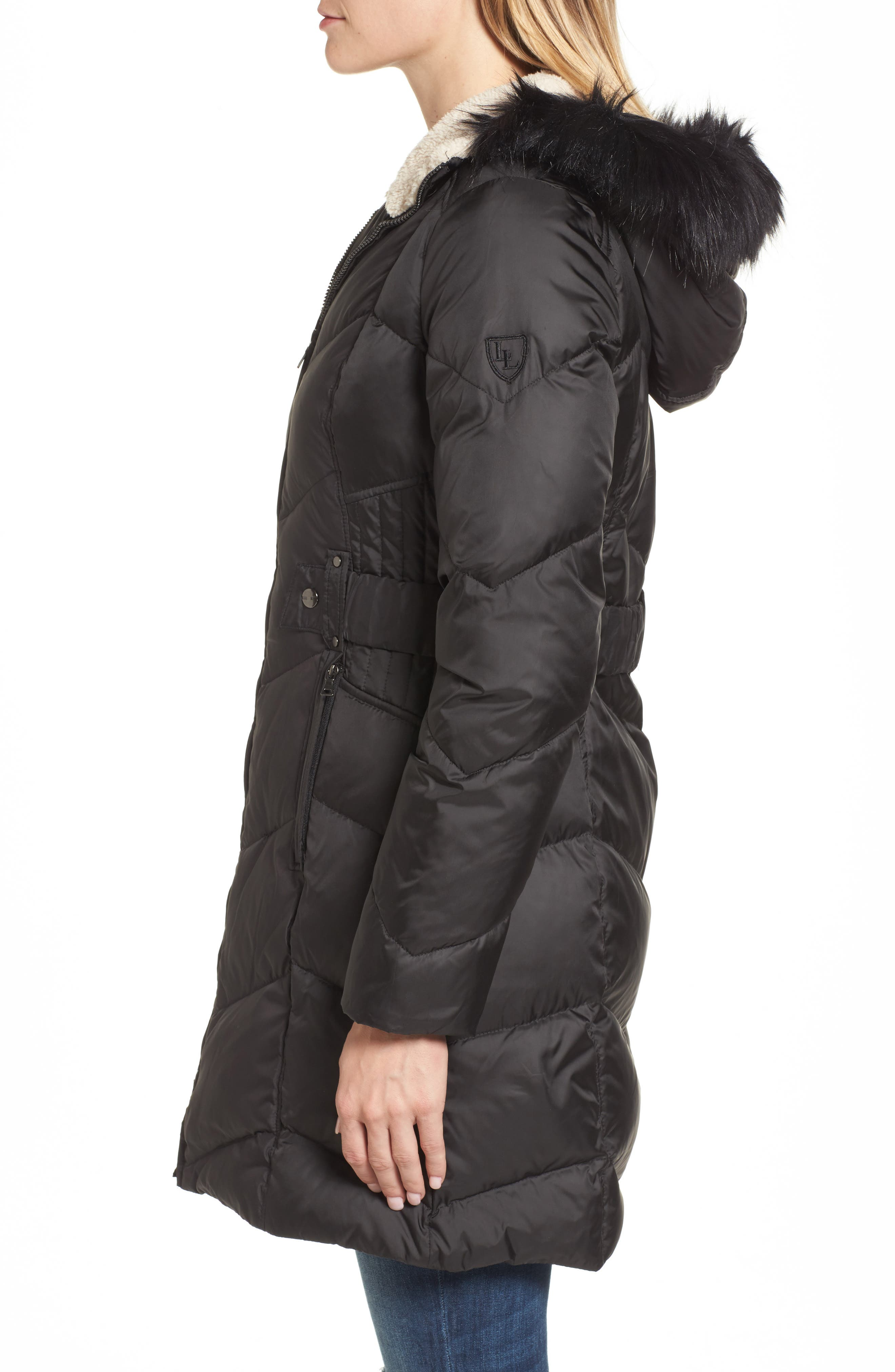 Hooded Down & Feather Fill Jacket with Faux Fur Trim,                             Alternate thumbnail 3, color,                             001