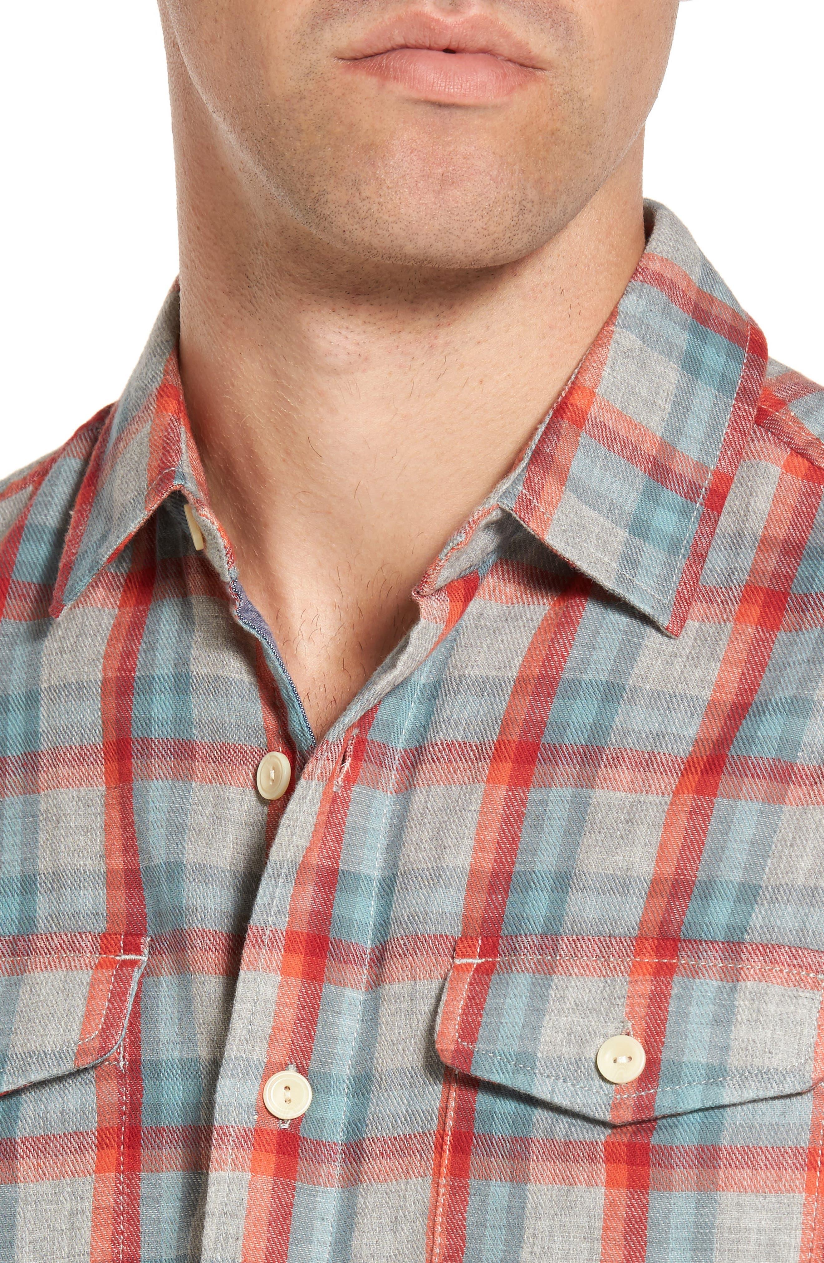Sherman Modern Fit Double Cloth Windowpane Sport Shirt,                             Alternate thumbnail 4, color,