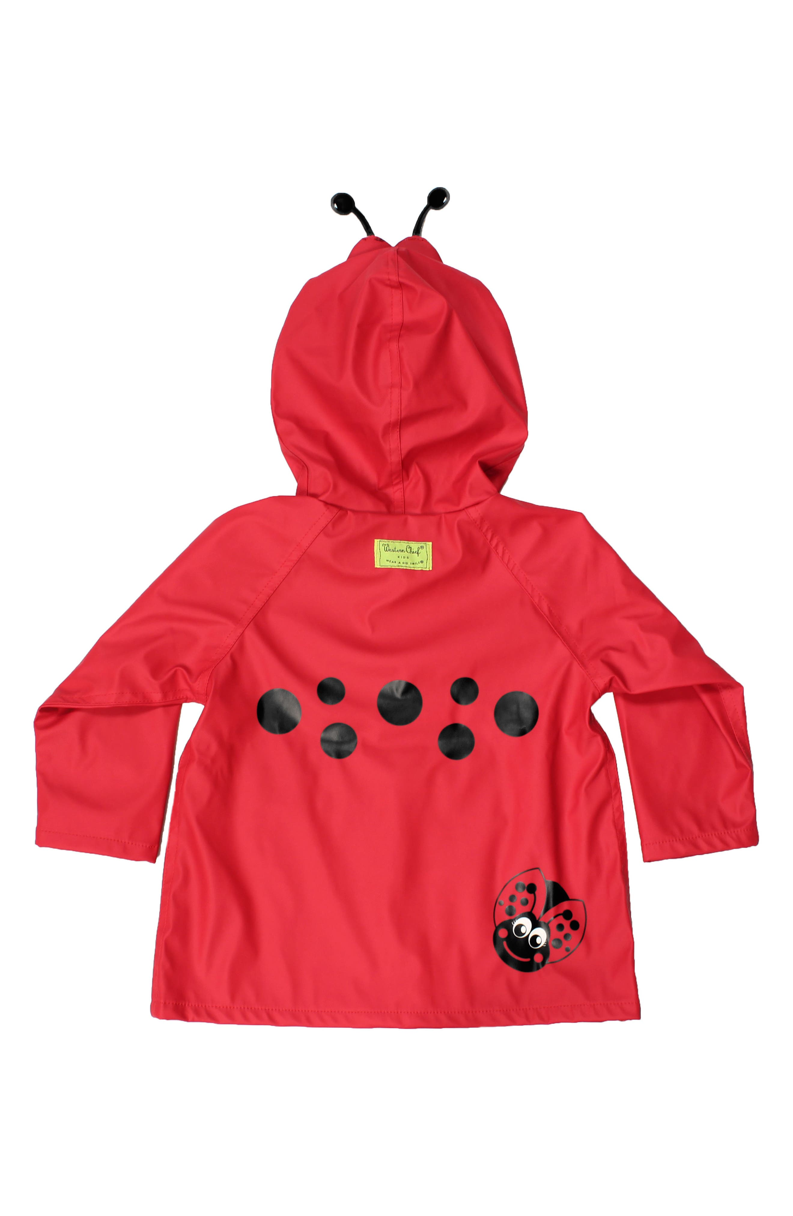 Ladybug Hooded Raincoat,                         Main,                         color, RED