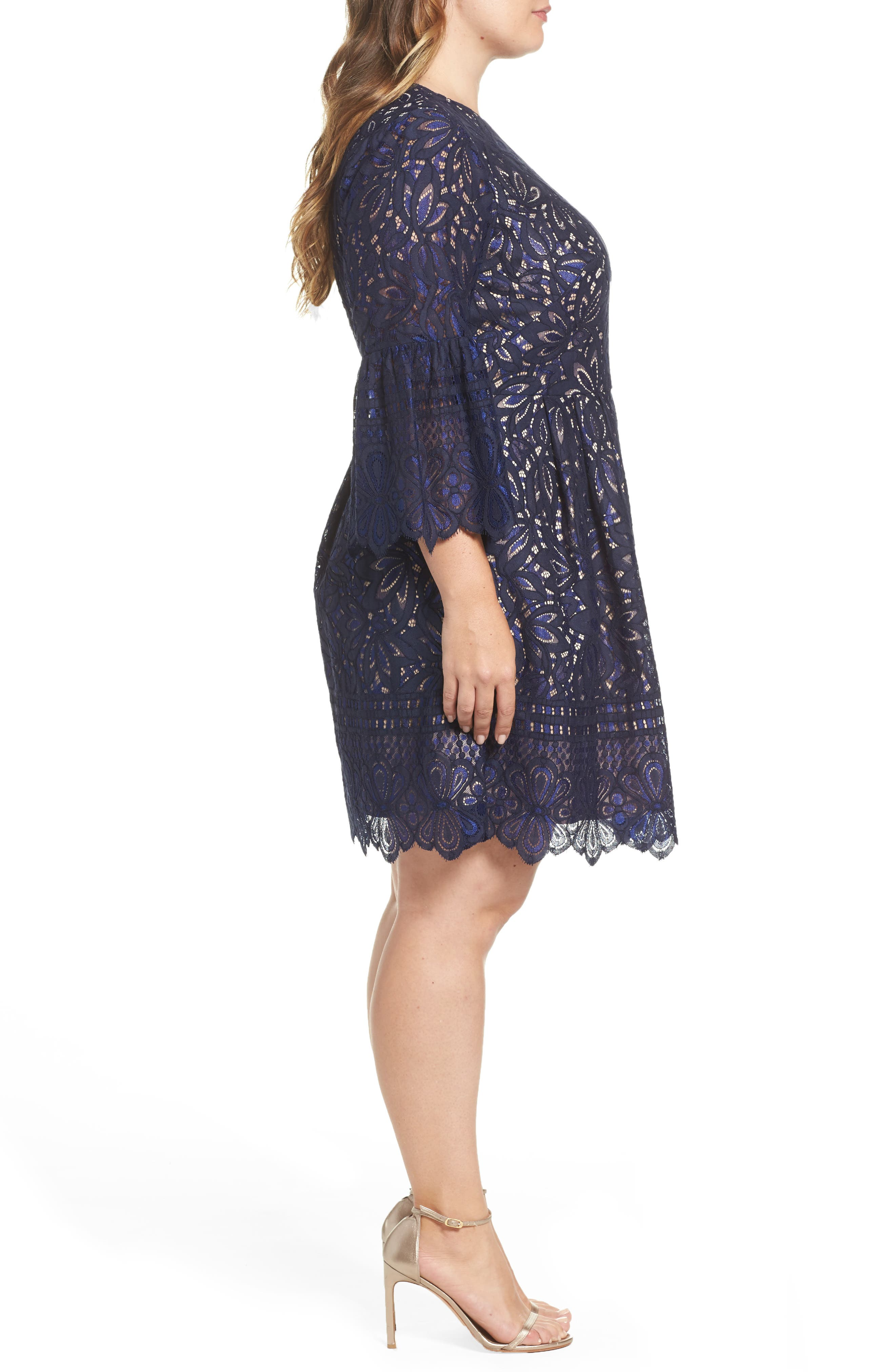 Lace Bell Sleeve Fit & Flare Dress,                             Alternate thumbnail 3, color,