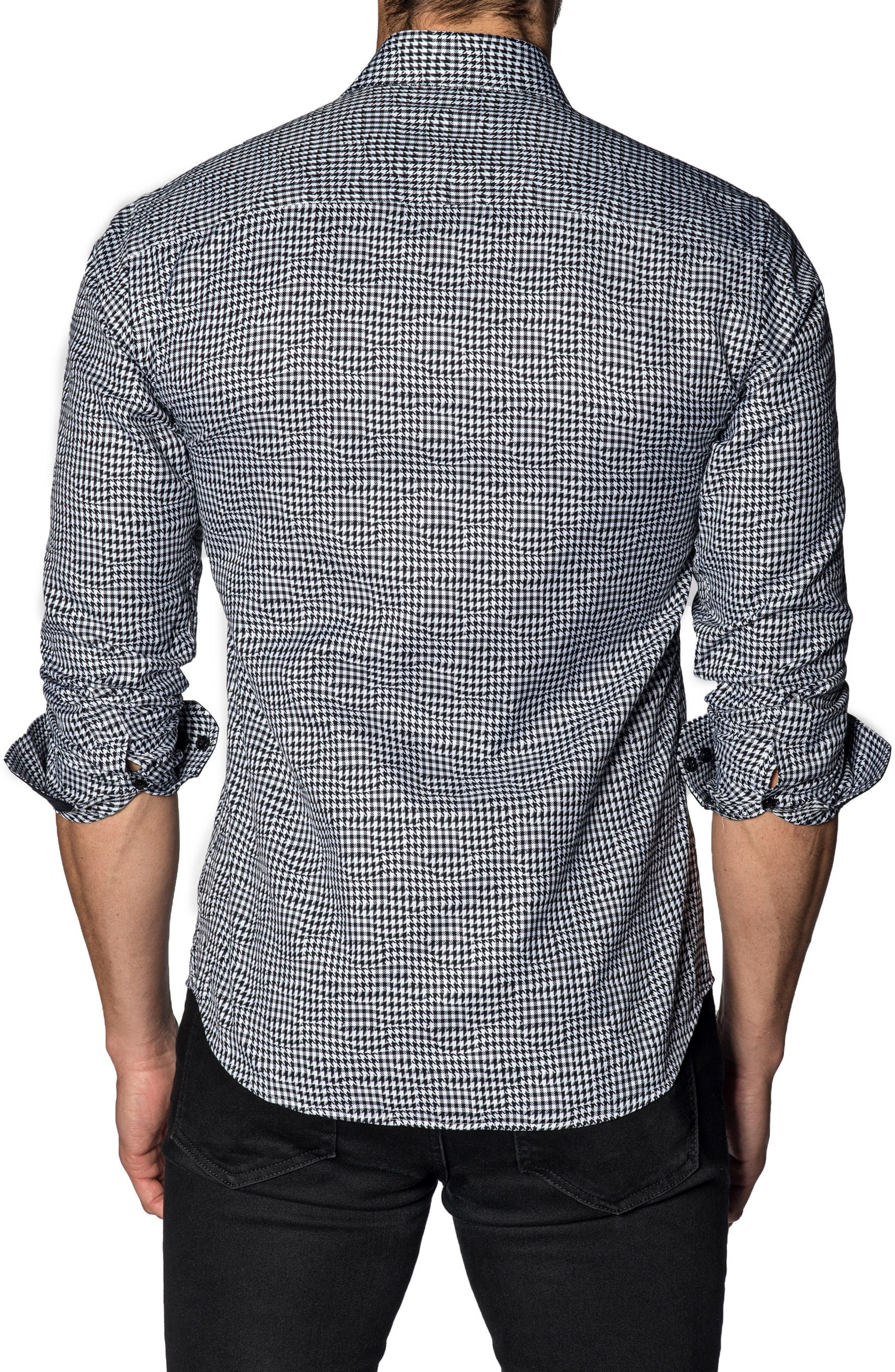 Slim Fit Houndstooth Sport Shirt,                             Alternate thumbnail 2, color,                             WHITE BLACK HOUNDSTOOTH