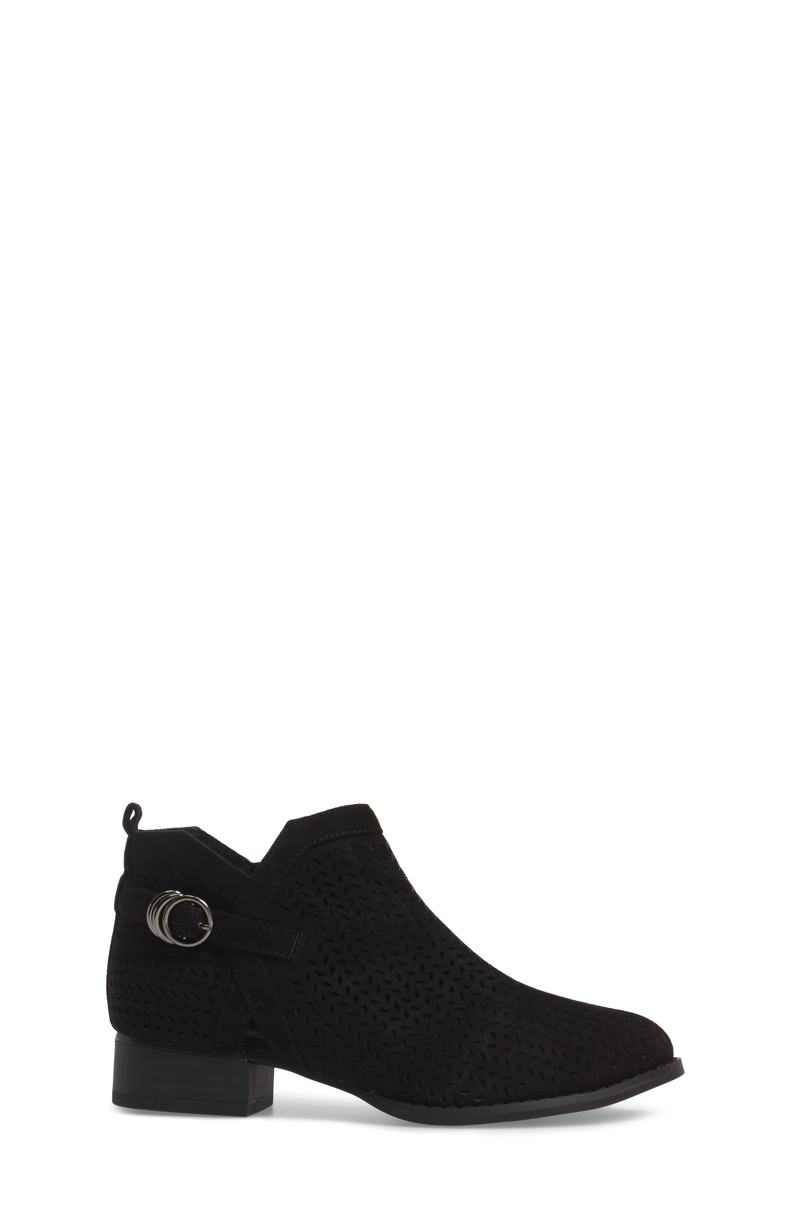 Campina Perforated Bootie,                             Alternate thumbnail 3, color,                             BLACK SUEDE