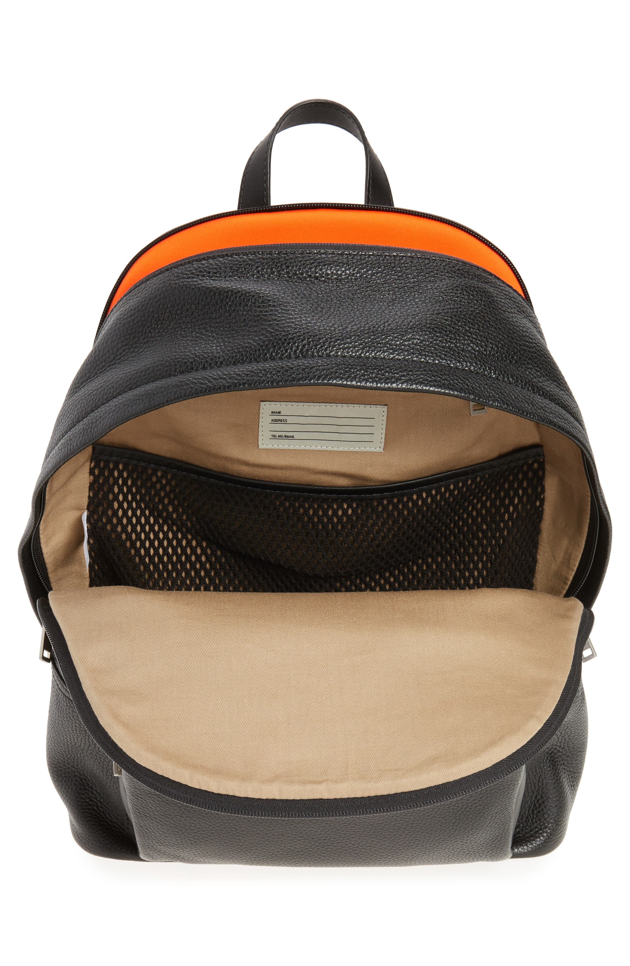 Pebbled Leather Backpack,                             Alternate thumbnail 4, color,                             001