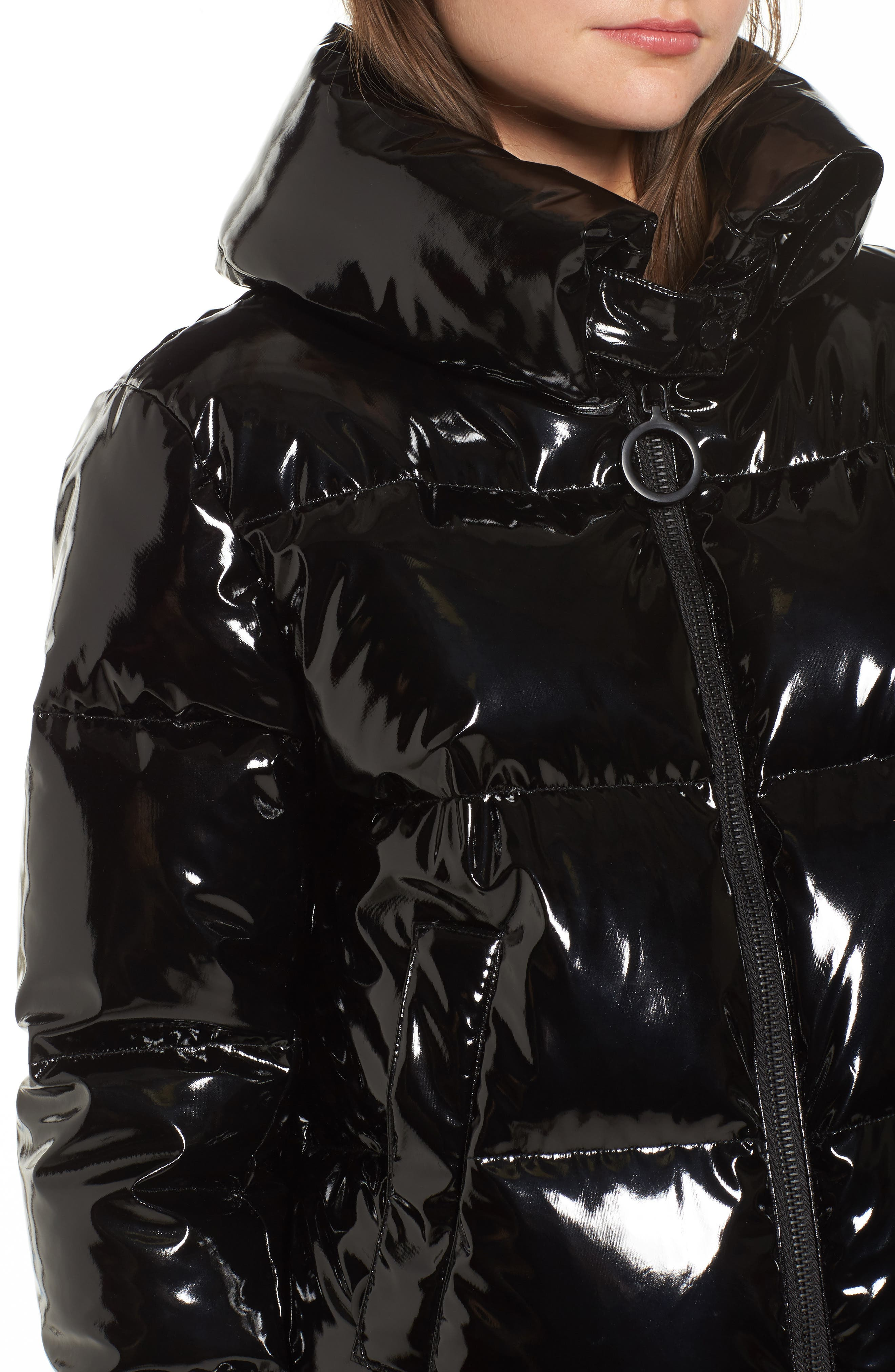 Shiny Puffer Jacket,                             Alternate thumbnail 4, color,                             001
