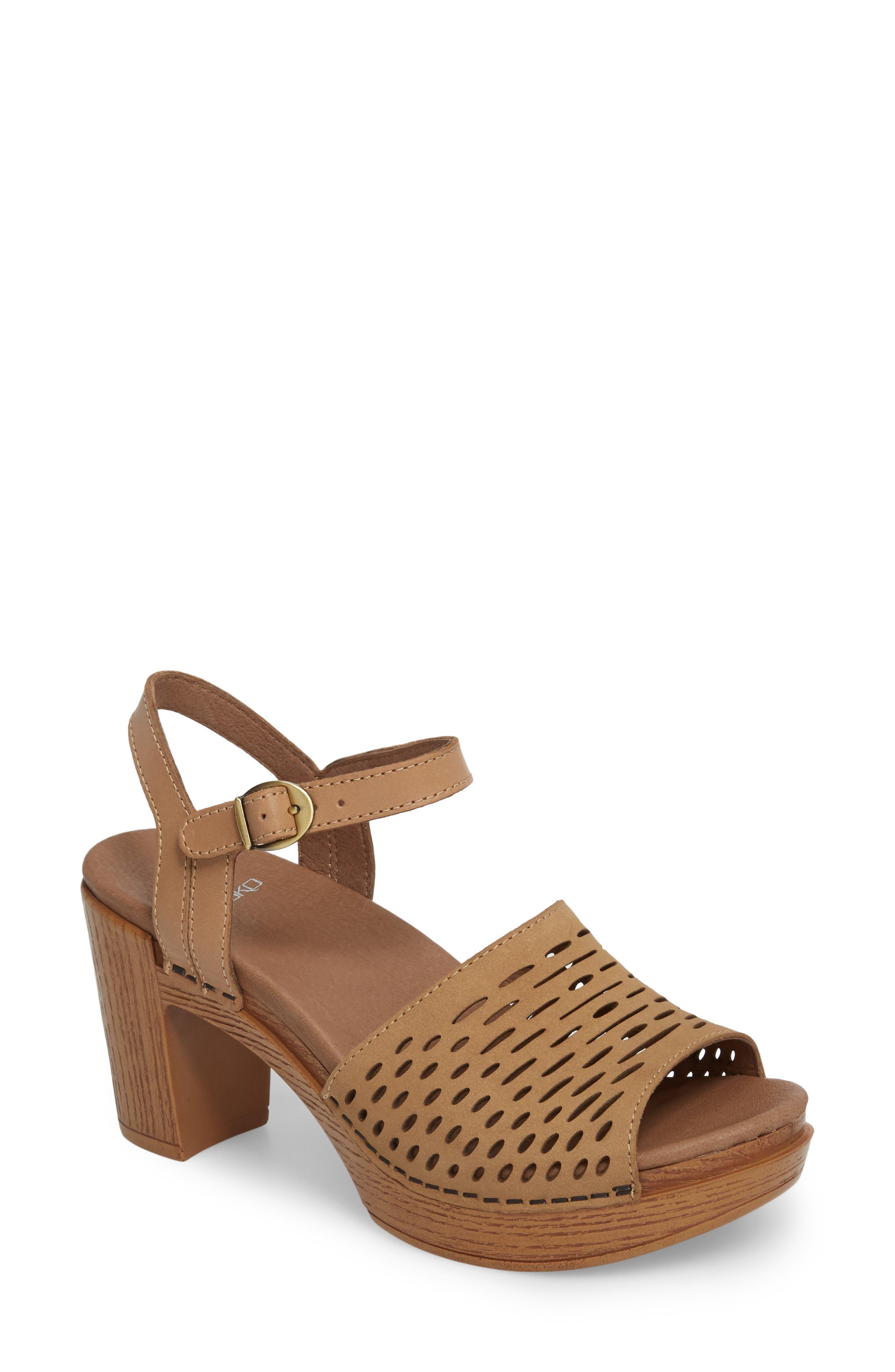 Denita Block Heel Sandal,                             Main thumbnail 1, color,                             SAND MILLED NUBUCK