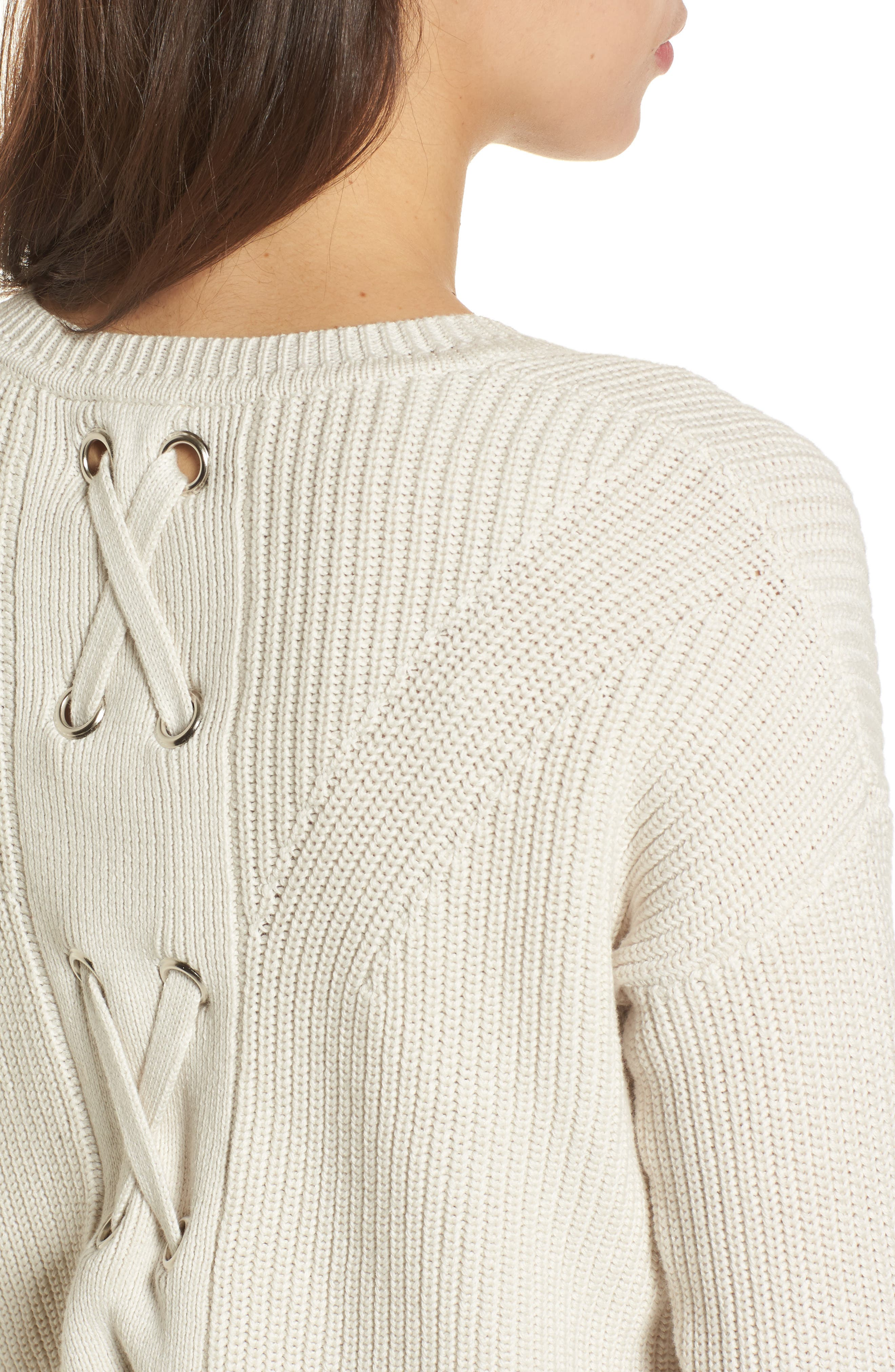 Lace-Up Back Sweater,                             Alternate thumbnail 4, color,                             250