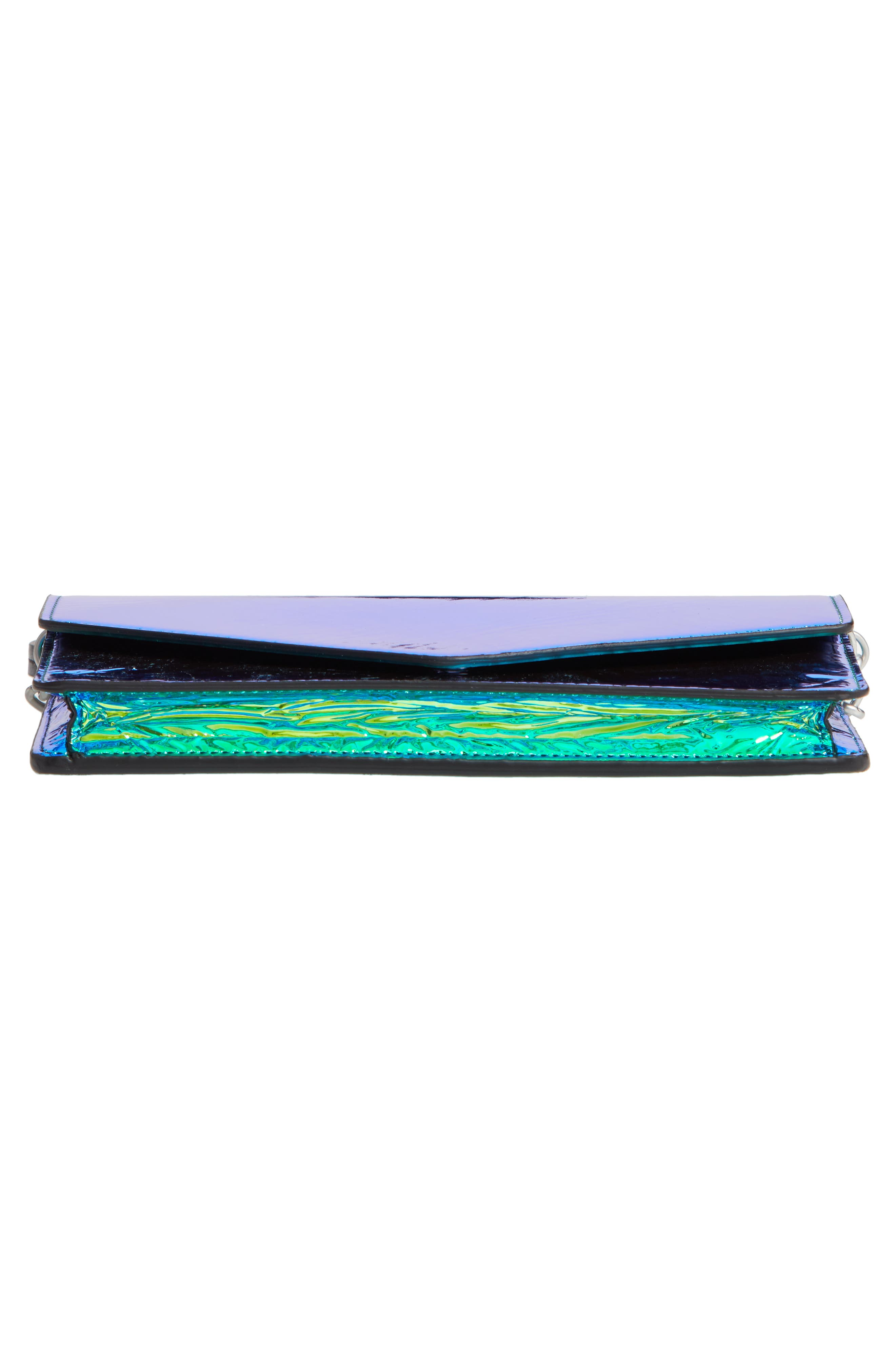 Iridescent Faux Leather Wallet on a Chain,                             Alternate thumbnail 6, color,                             IRRIDISCENT BLUE/ GREEN