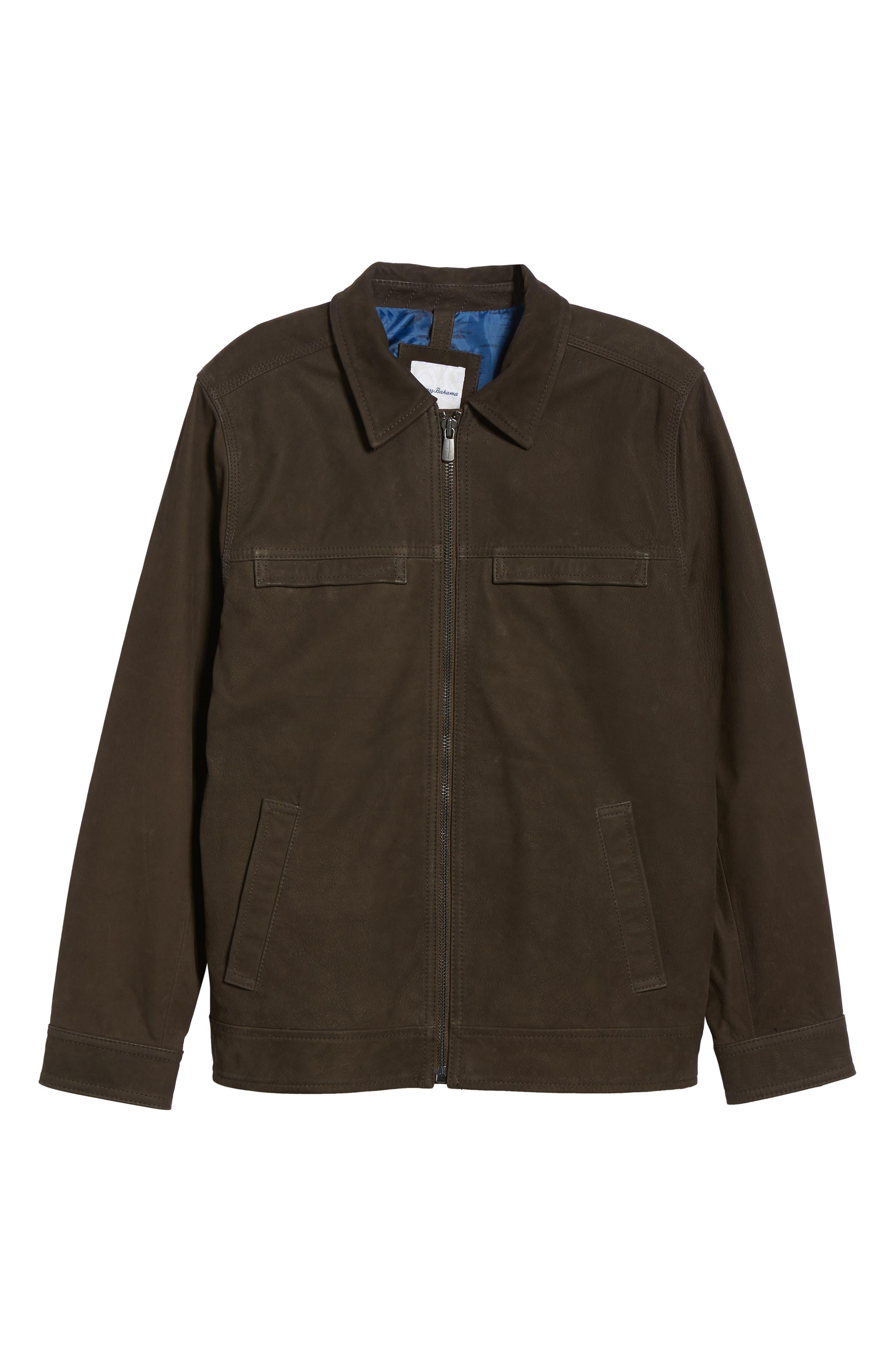 Elliott Bay Leather Jacket,                             Alternate thumbnail 5, color,                             COFFEE