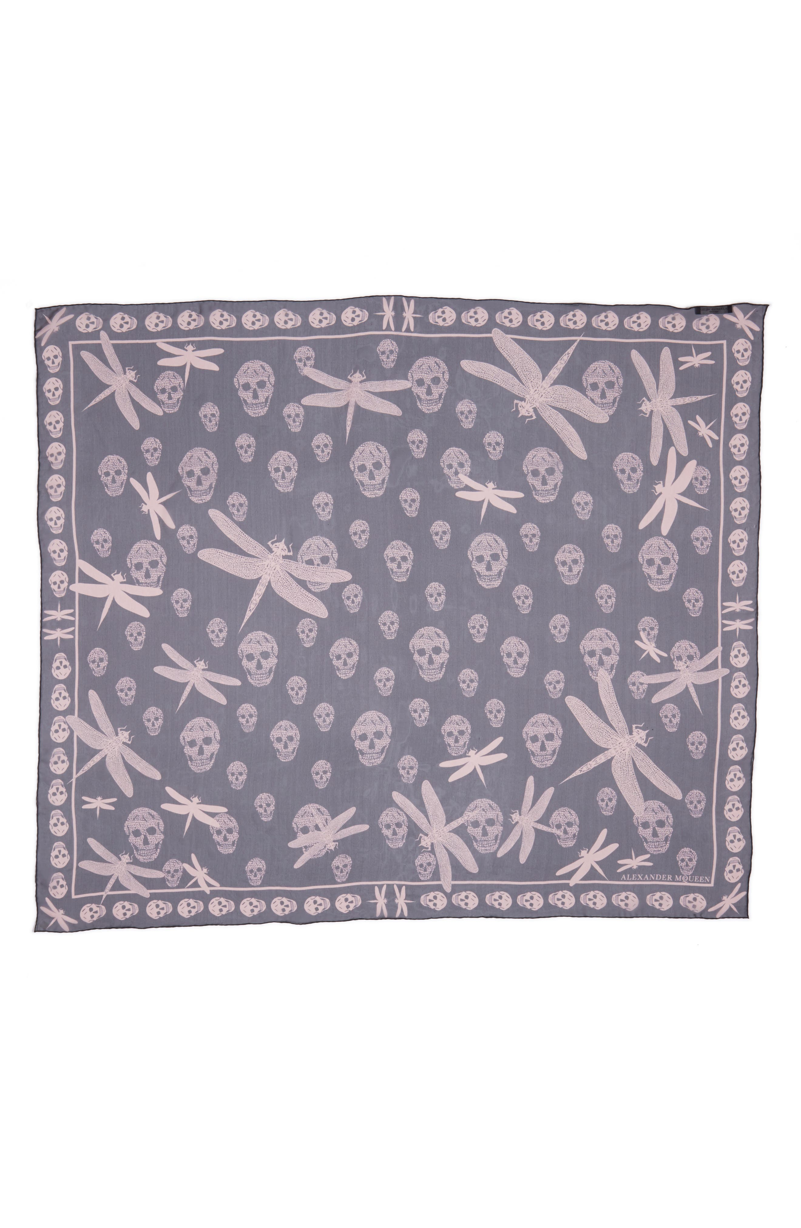 Graphic Dragonfly Silk Scarf,                         Main,                         color, 001