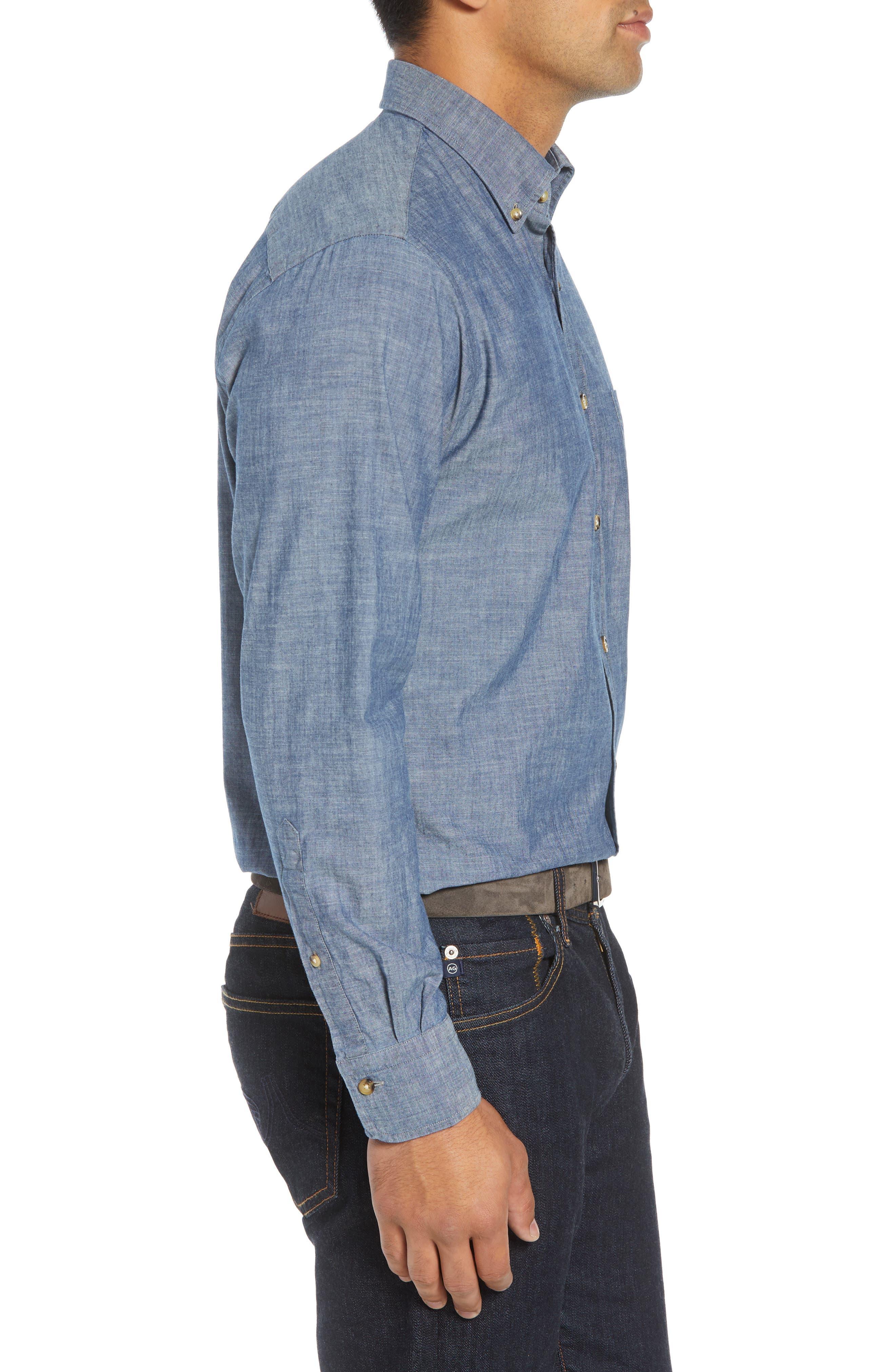 Blue Ridge Regular Fit Indigo Sport Shirt,                             Alternate thumbnail 4, color,                             INDIGO
