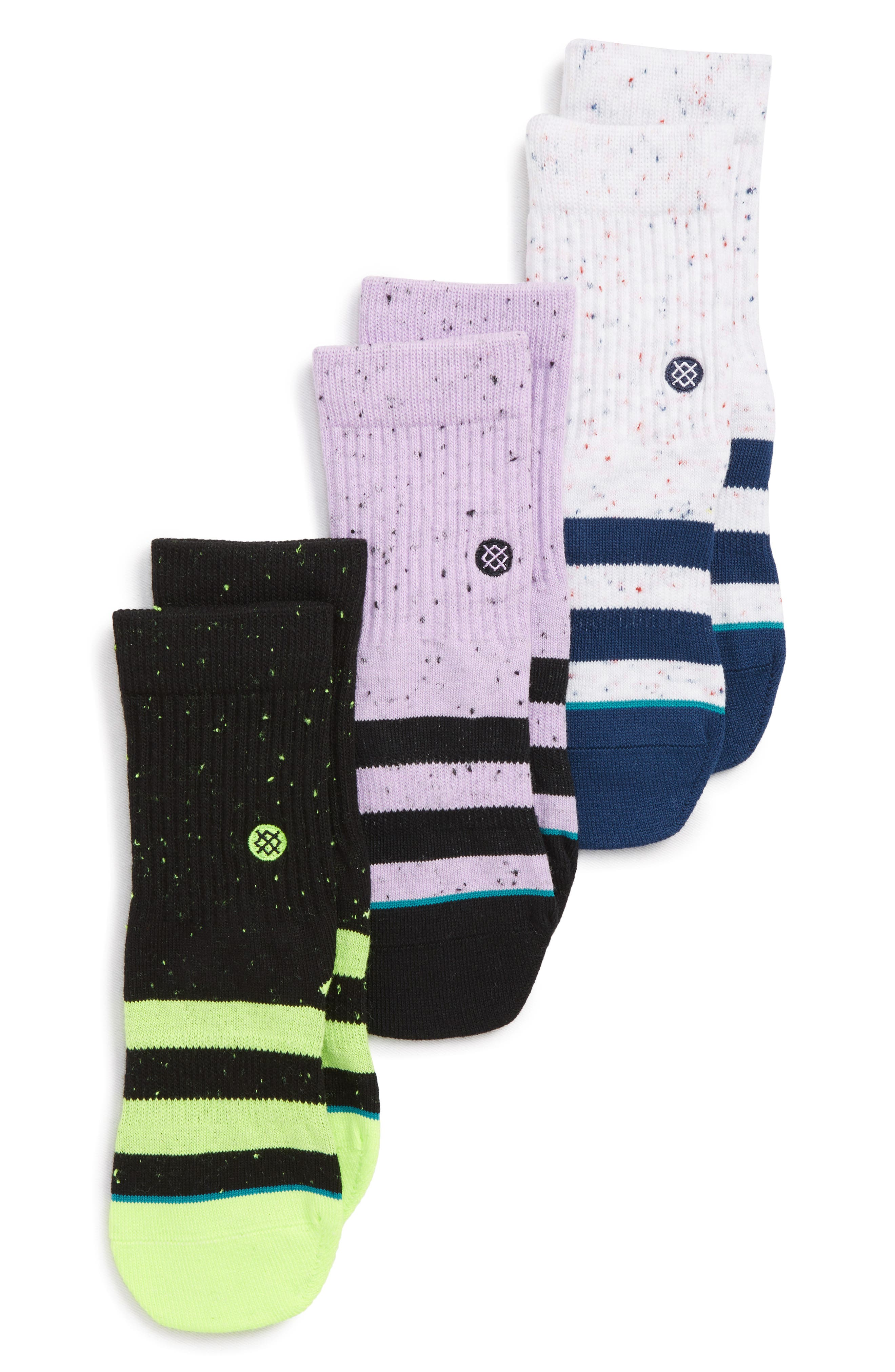 3-Pack Vibe Speckled Crew Socks,                         Main,                         color, 001