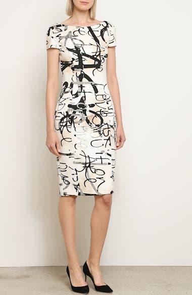 Alcali Scribble Print Sheath Dress, video thumbnail
